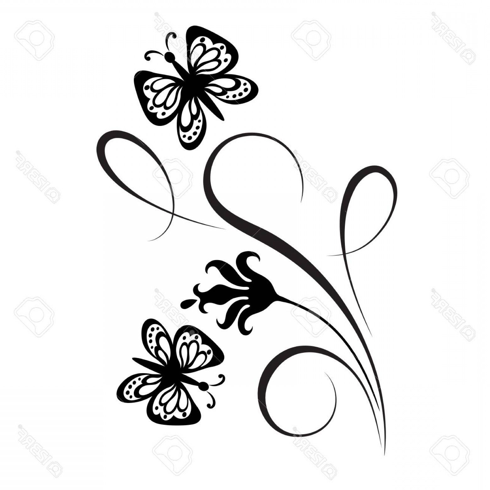 Butter Fly And Flower Vector Black And White: Photostock Vector Decorative Floral Corner Ornament With Flowers And Butterfly For Stencil Isolated On White Backgroun