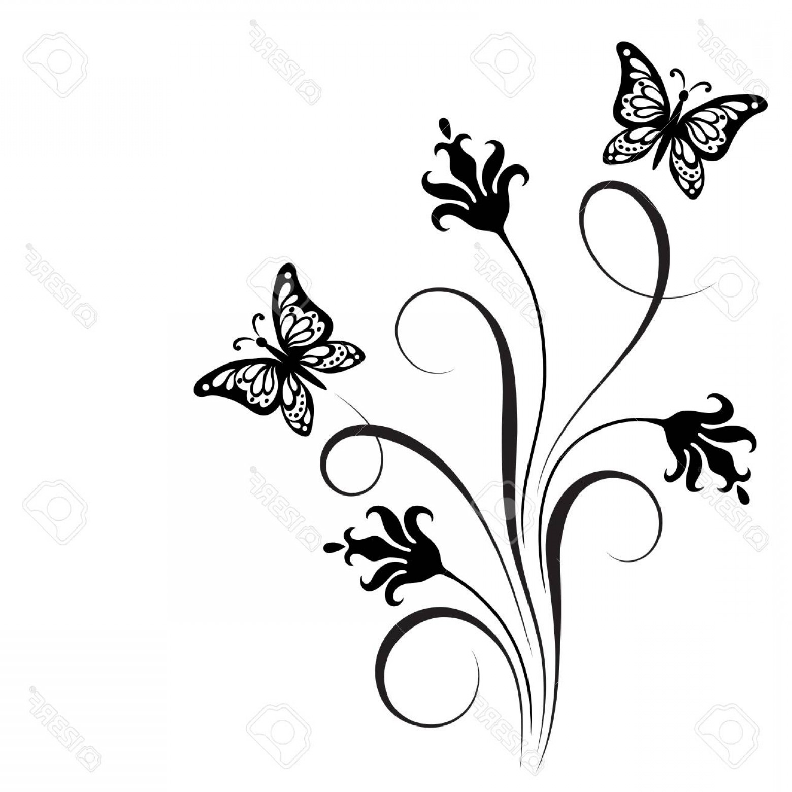 Butter Fly And Flower Vector Black And White: Photostock Vector Decorative Floral Corner Ornament With Flowers And Butterfly For Stencil