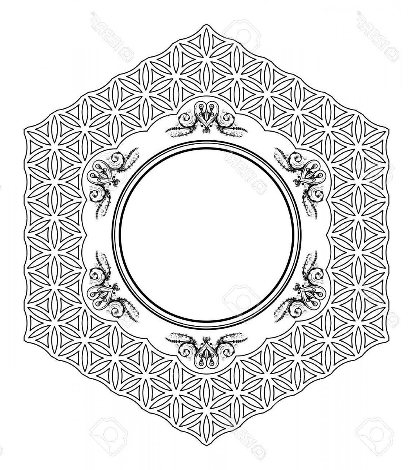 Florid Vector Simple: Photostock Vector Decorative Hexagonal Frame From Circles With Florid Ornaments With Stylized Hearts And Leaves In The