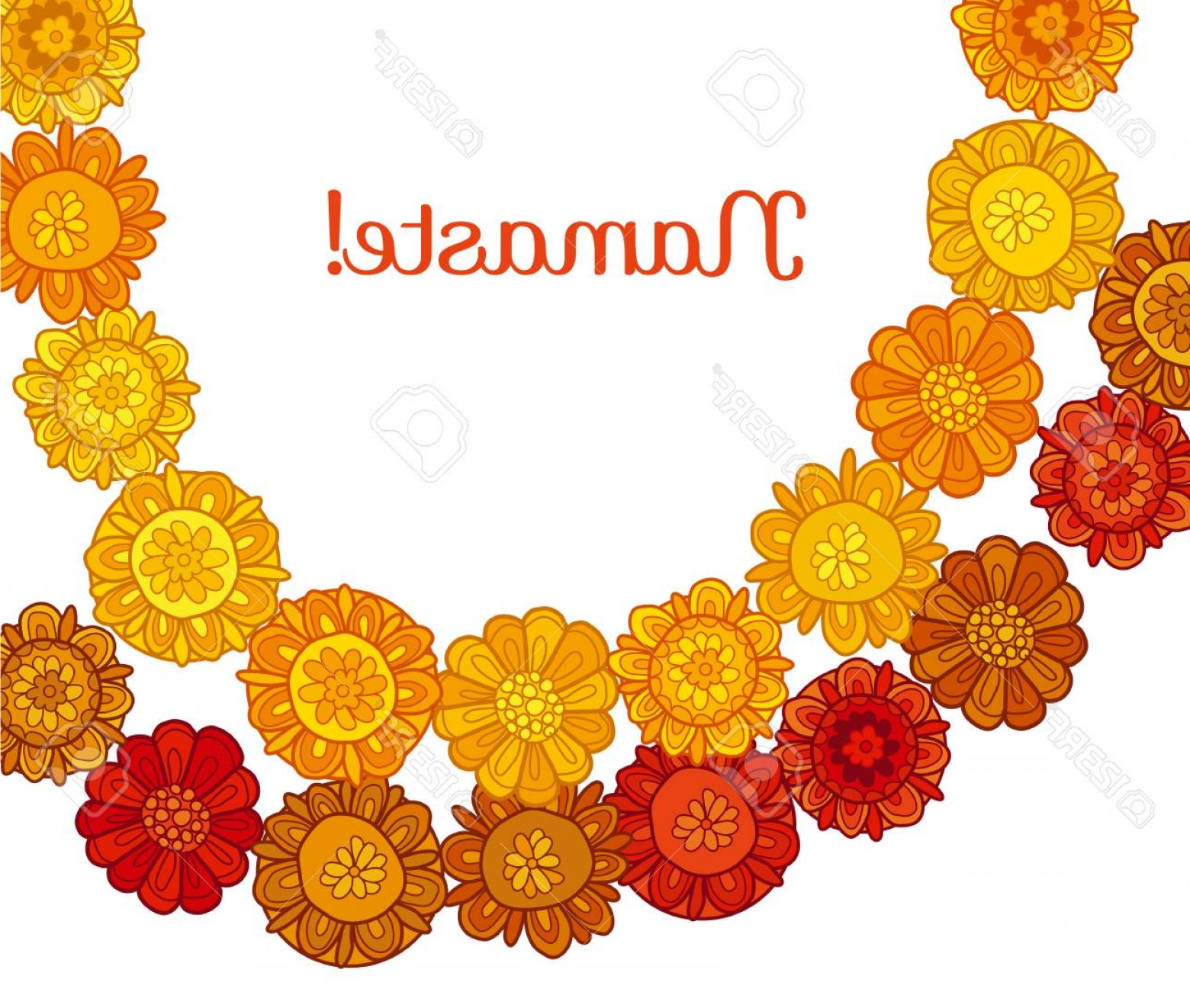 Hindu Flower Vector: Photostock Vector Decorative Stylized Marigold Flower Vector Illustration Traditional Rural Indian Floral Garland For