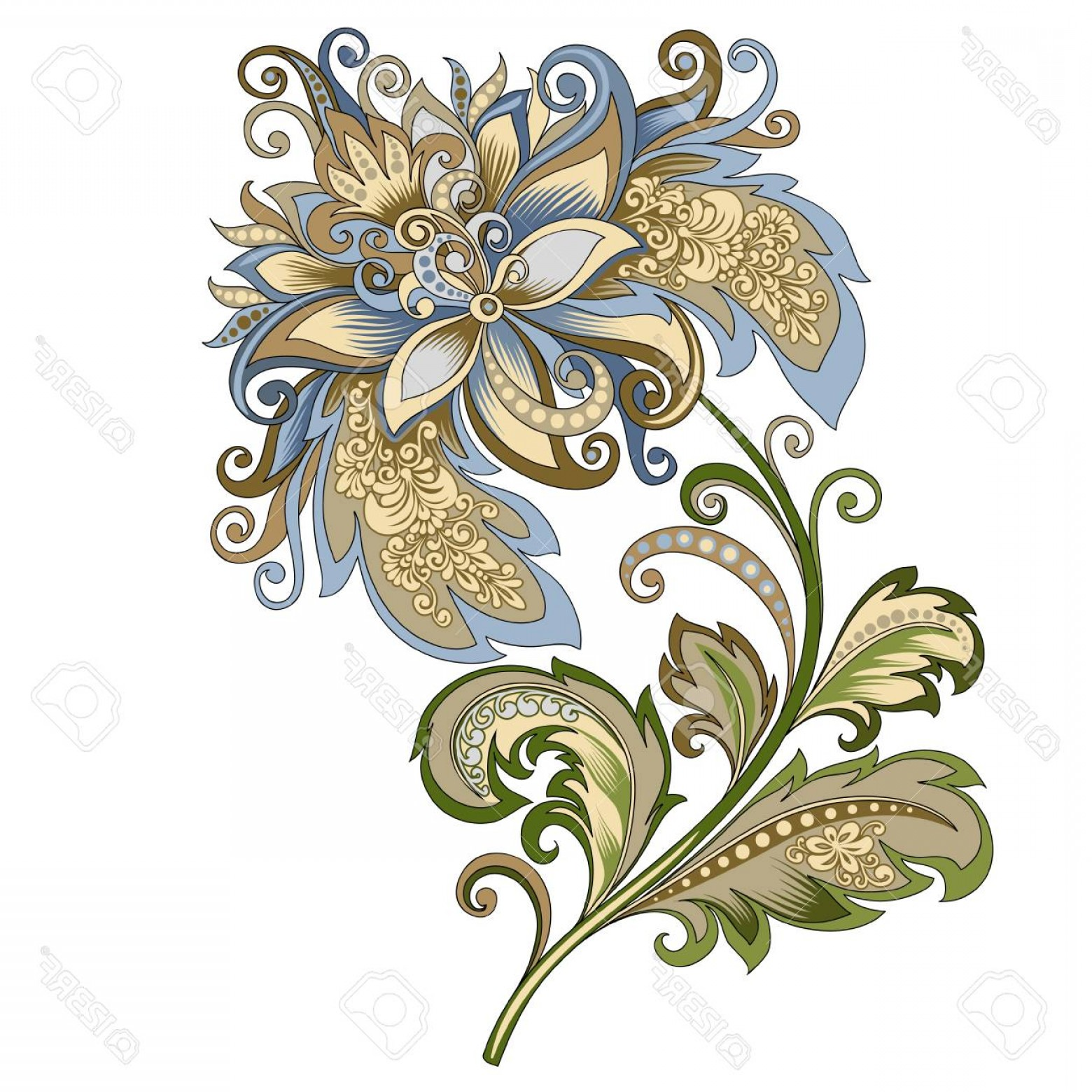 Gold And Blue Flower Vector: Photostock Vector Decorative Vintage Gold And Blue Flower