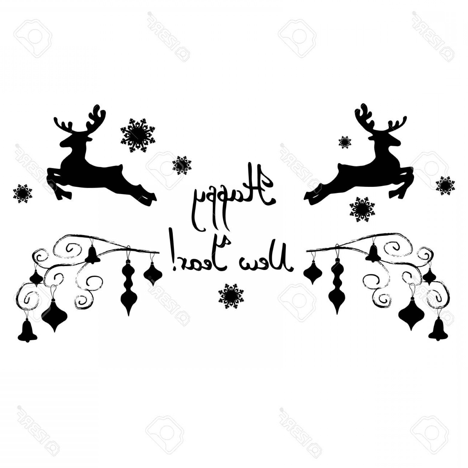 Black And White Holiday Deer Vector: Photostock Vector Deer Christmas Vector Illustration Holiday Design Winter Animal Background Celebration