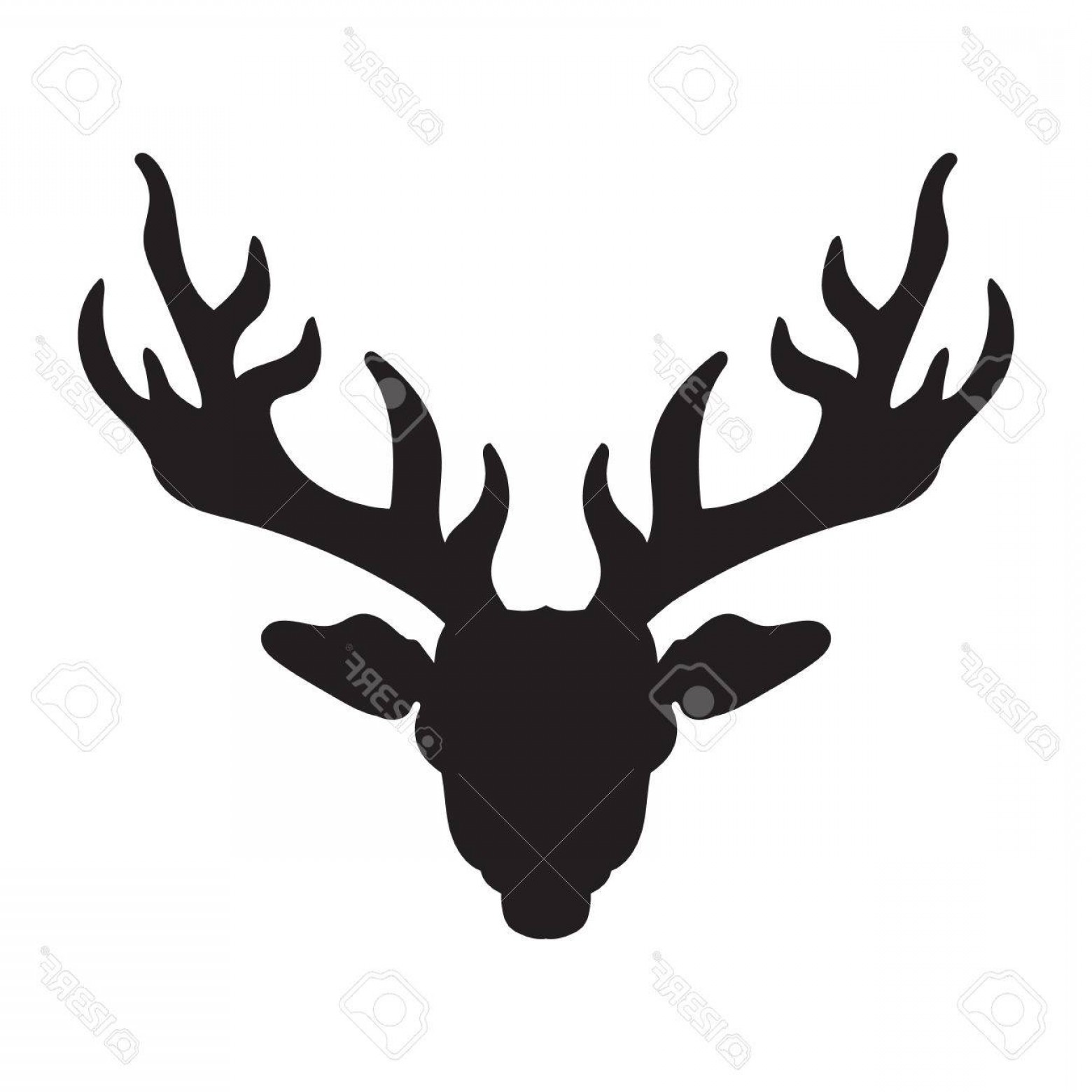 Vector Buck Print: Photostock Vector Deer Head With Horns For T Shirt Tattoo Print Fabric Poster And Illustrations Vector