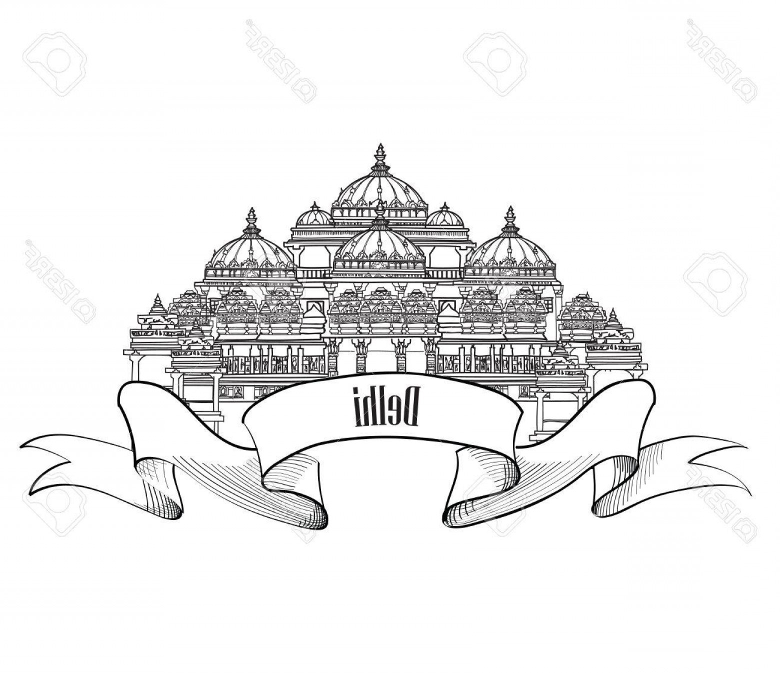 Arch Vector Illinios: Photostock Vector Delhi Travel Label Indian Landmark Symbol Akshardham Delhi India