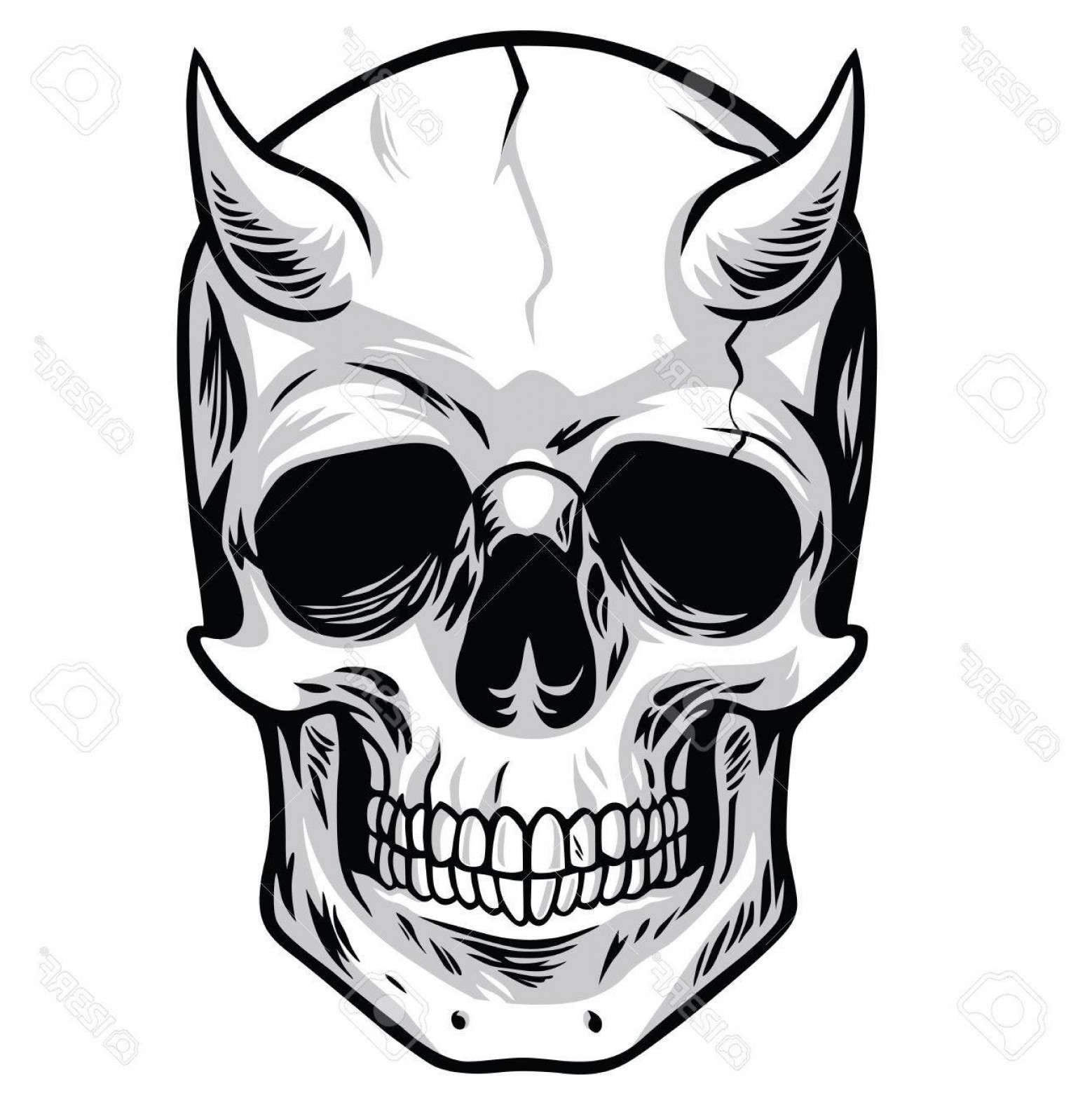 Cool Skull Vector: Photostock Vector Demon Head Skull Vector