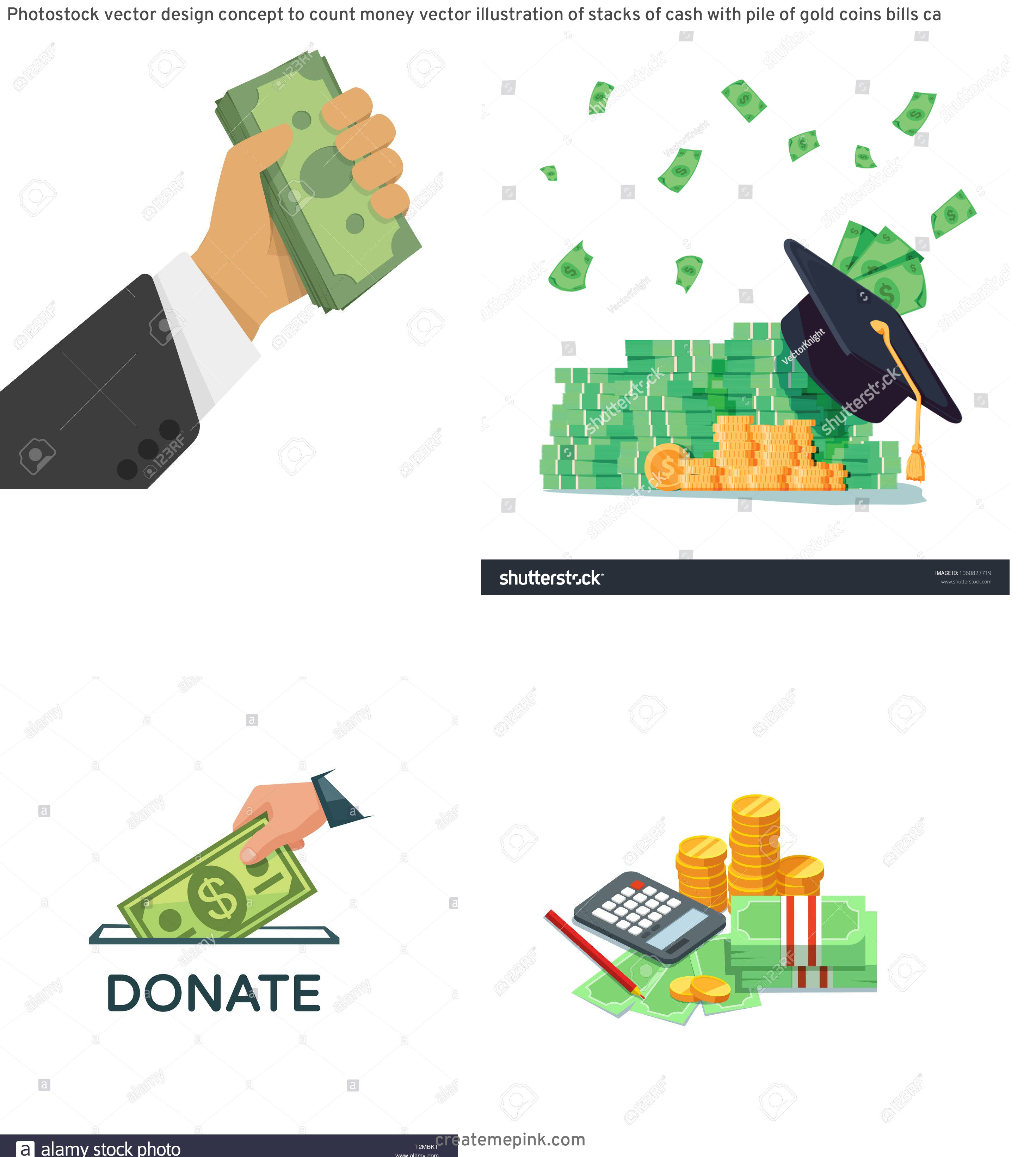 Money Vector Illustration: Photostock Vector Design Concept To Count Money Vector Illustration Of Stacks Of Cash With Pile Of Gold Coins Bills Ca