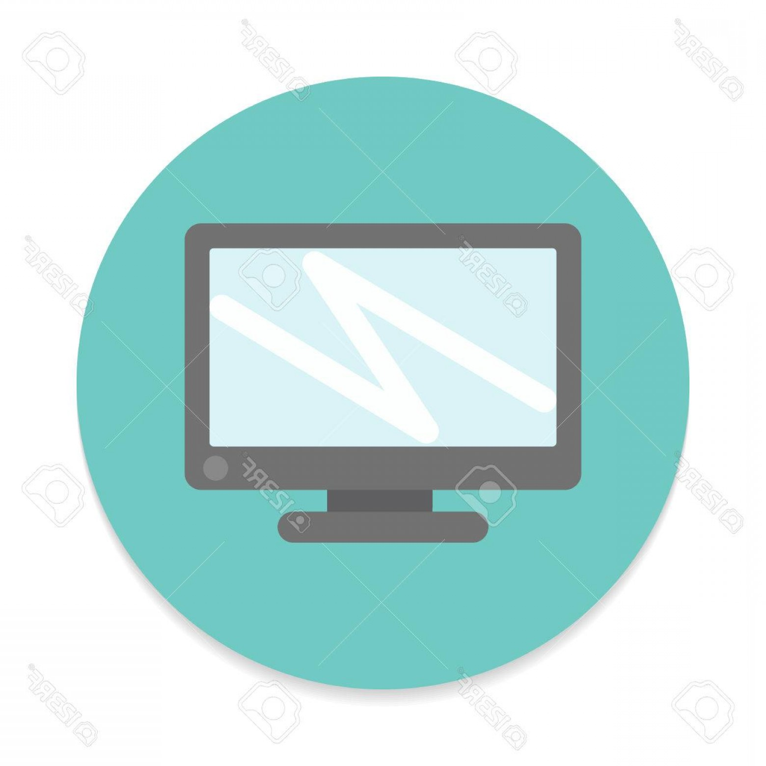 Computer Vector Icon Flat: Photostock Vector Desktop Computer Screen Flat Icon Round Colorful Button Circular Vector Sign Flat Style Design