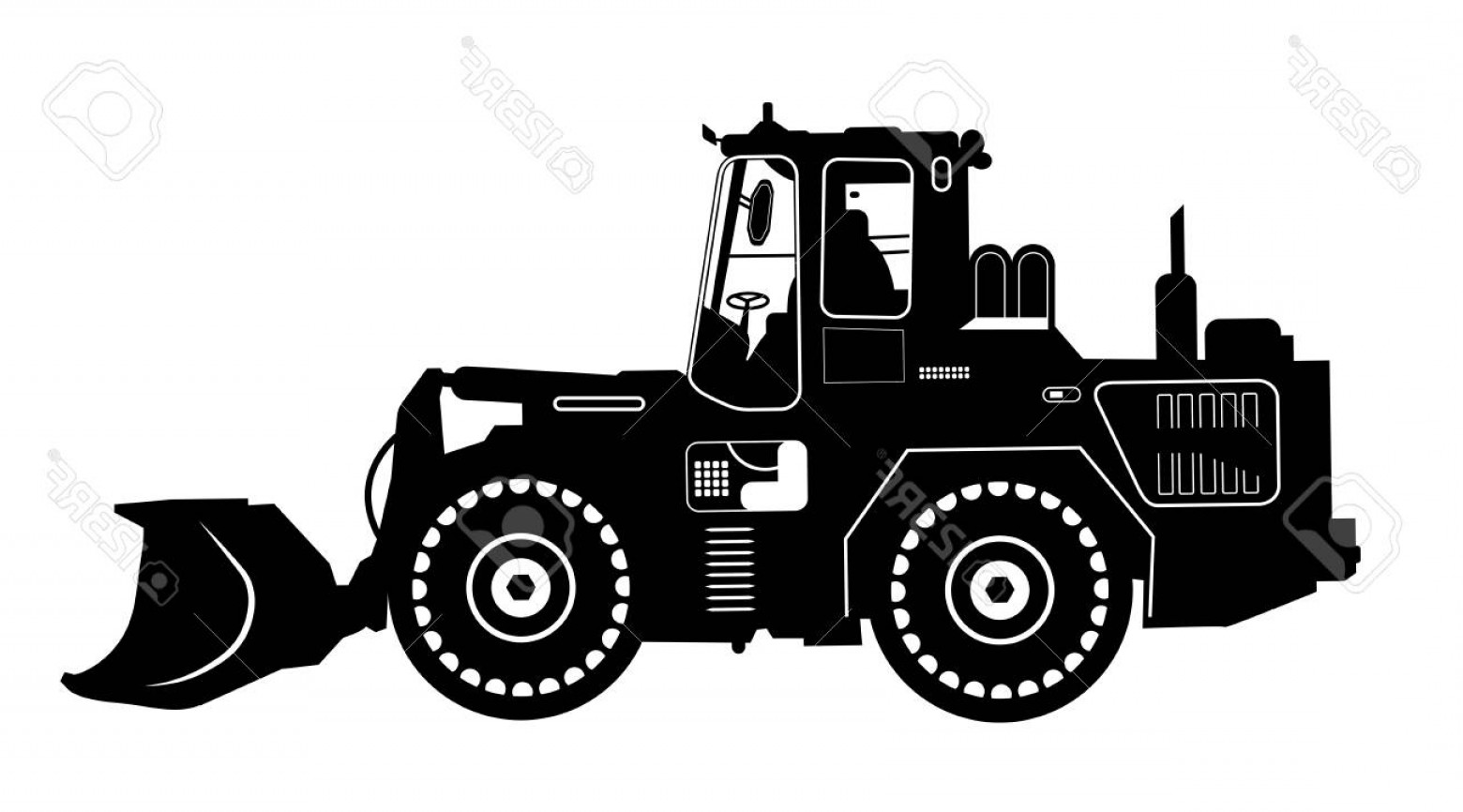 Free Tractor Vector: Photostock Vector Detailed Excavator Snow Plow Tractor Vector Illustration