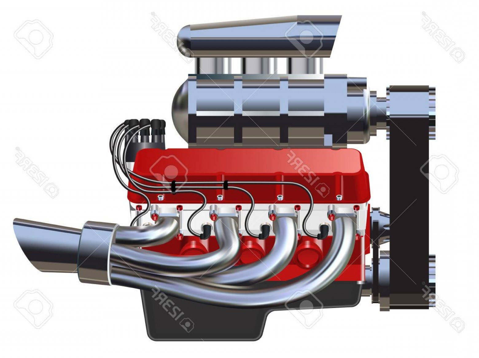 Vector Hot Rod Engines: Photostock Vector Detailed Illustration Of Hot Rod Engine Vector Isolated On White
