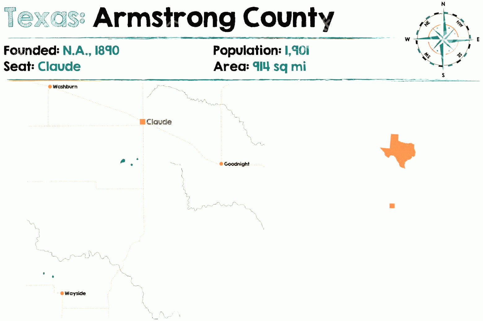 Armstrong Vector: Photostock Vector Detailed Map Of Armstrong County In Texas United States