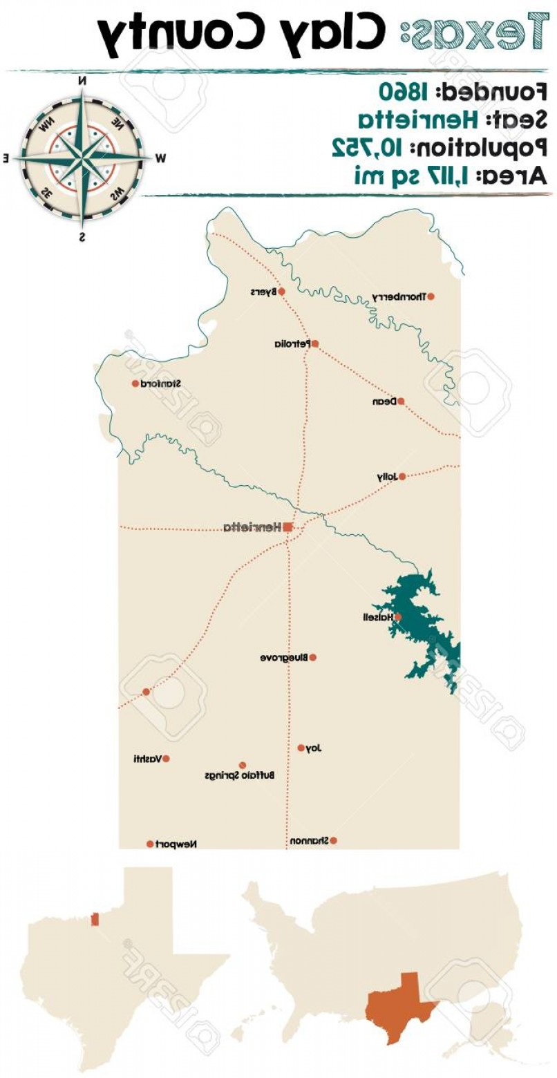 Texas Counties Map Vector: Photostock Vector Detailed Map Of Clay County In Texas Usa