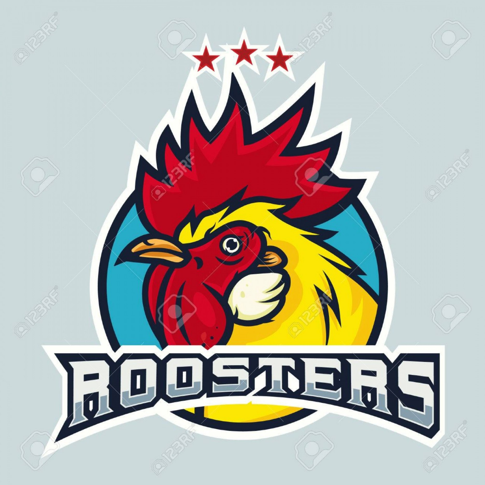Vector Mascot Logos: Photostock Vector Detailed Sports Logo Template With Angry Face Emotion Rooster Mascot For College School Sport Team L