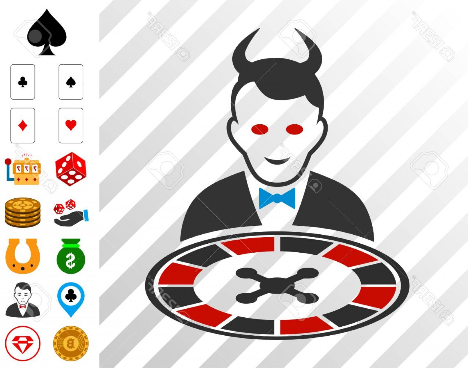 Gambler Vector Art Images: Photostock Vector Devil Roulette Dealer Icon With Bonus Gambling Pictures Vector Illustration Style In Flat Iconic Sym