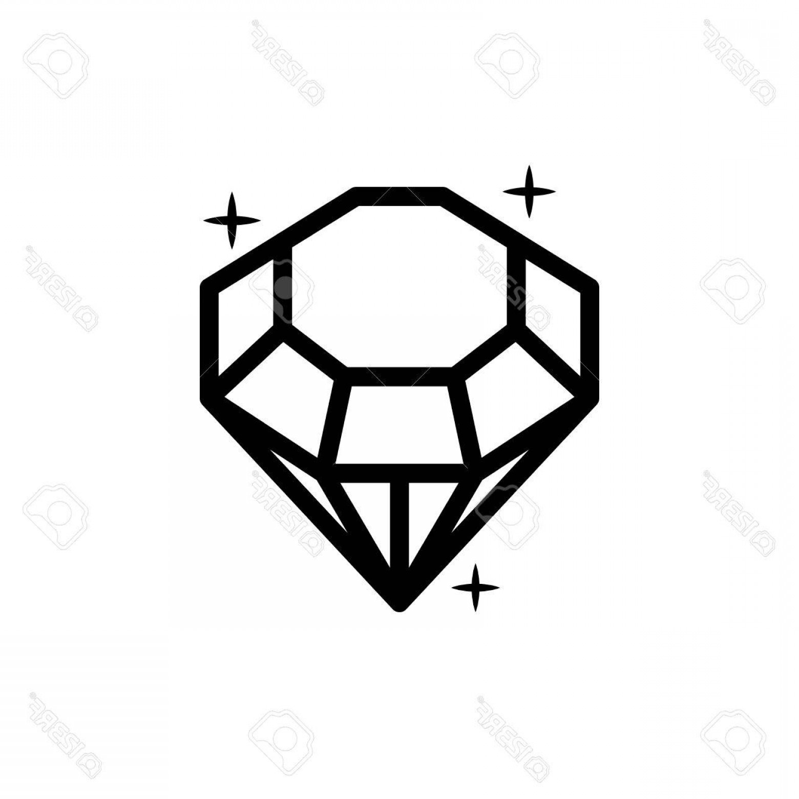 Black Diamond Vector Clip Art: Photostock Vector Diamond Icon Vector Illustration Shiny Crystal Sign Brilliant Stone Black Stroke Isolated On White B