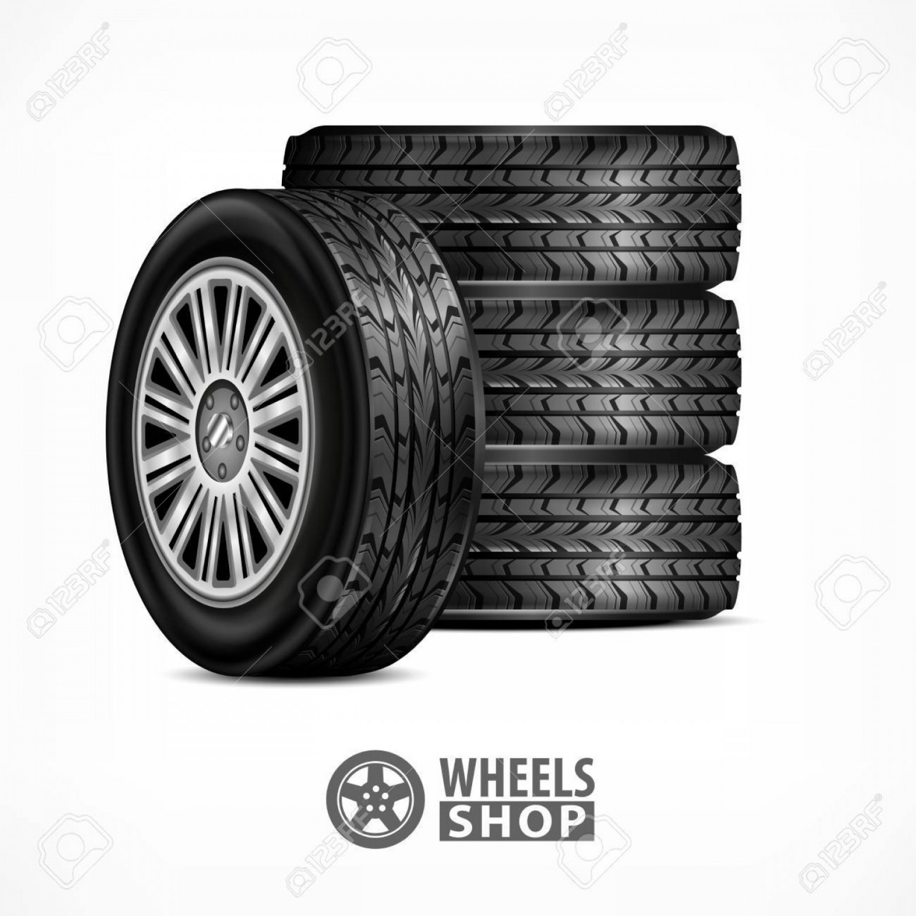 American Racing Vector Rims: Photostock Vector Different Car Black New Rubber Wheels On White Background Tyres And Wheels For Racing Concept Vector