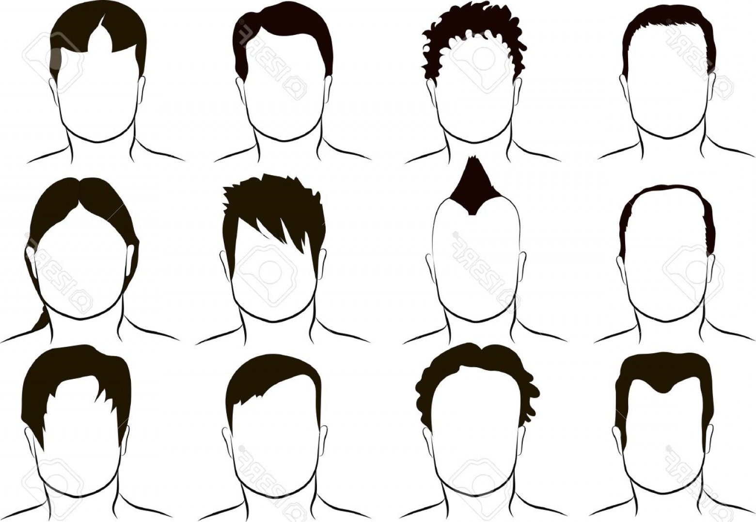 Short Men's Hair Vector: Photostock Vector Different Men S Hairstyle Vector