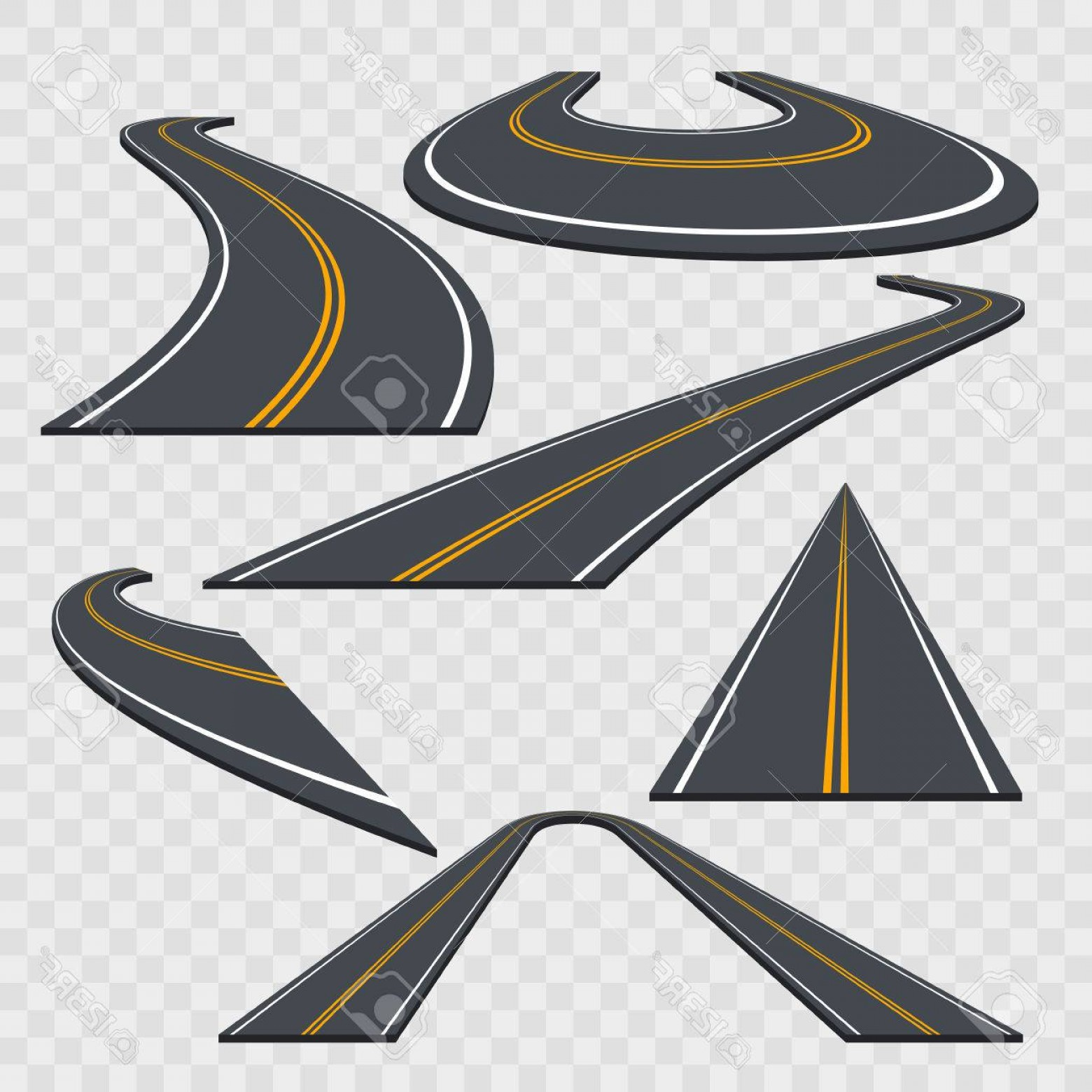 Transparent Curved Road Vector: Photostock Vector Different Perspective Curved Road Set On A Transparent Background Vector Illustration