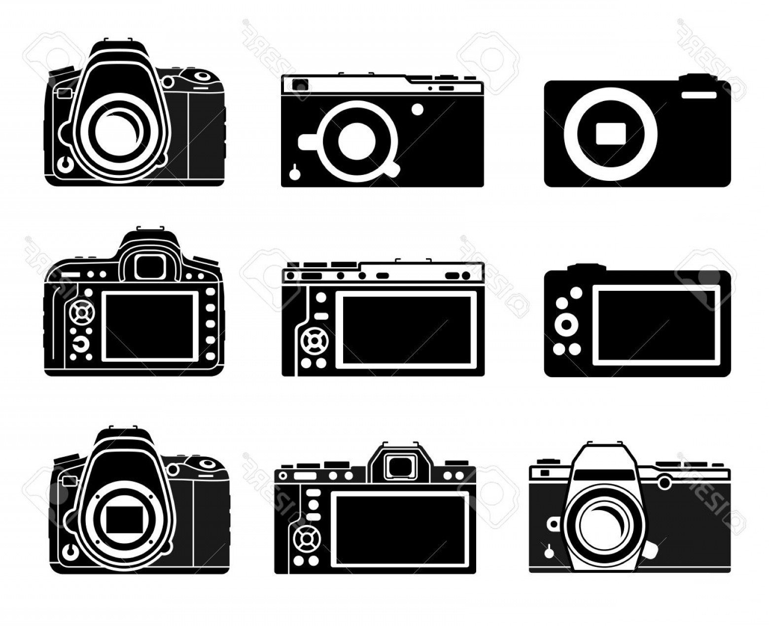 SLR Camera Vector: Photostock Vector Different Types Camera Icons Dslr Mirrorless Small Illustration Set