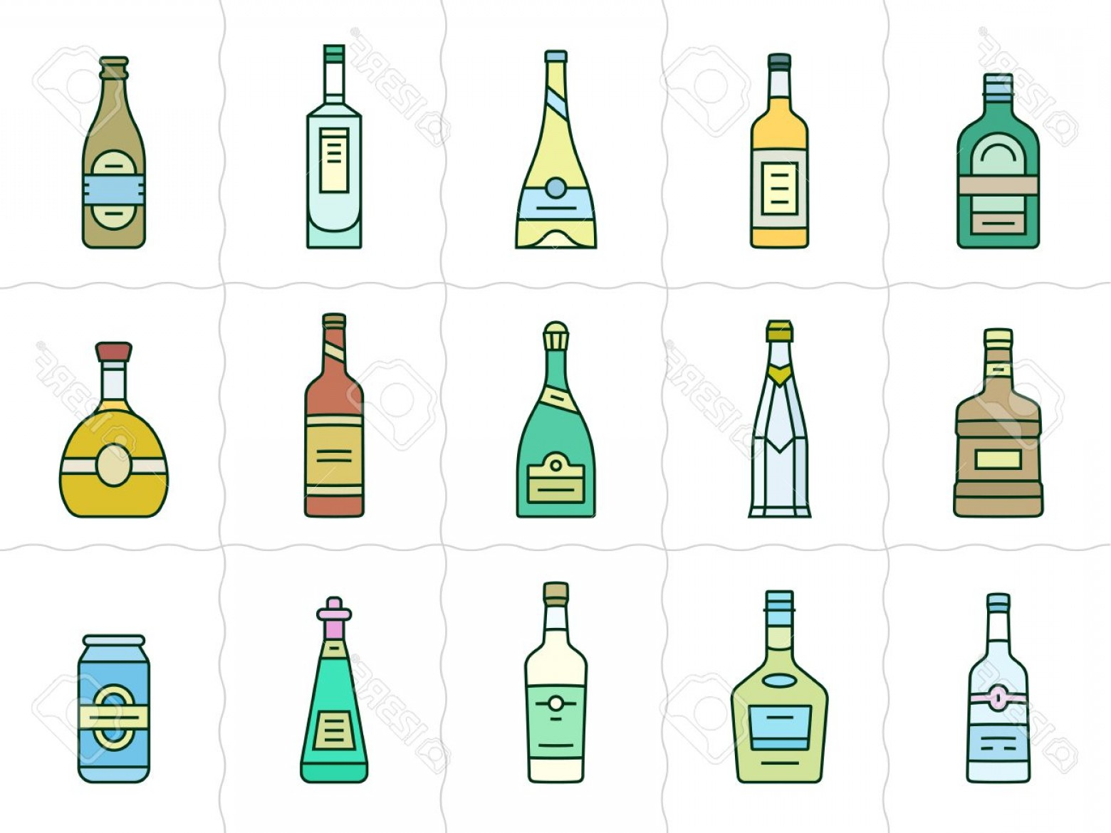 Alcohol Vector: Photostock Vector Different Types Of Alcohol Vector Icons Of Alcohol Bottles Linear Style