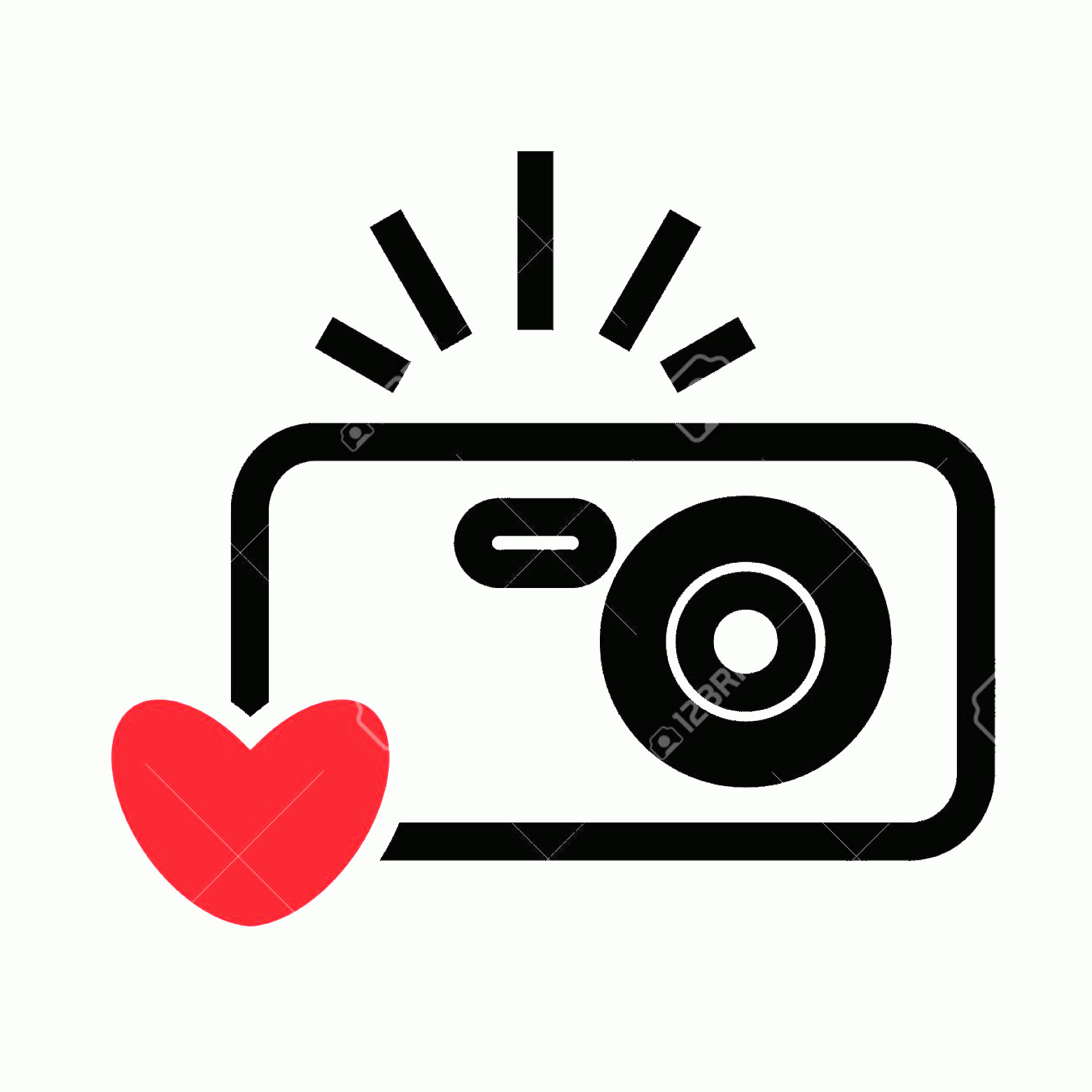 Camera Heart Clip Art Vector: Photostock Vector Digital Camera And Heart Vector Icon Snapshot Photography Sign Or Logo Instant Photo Concept