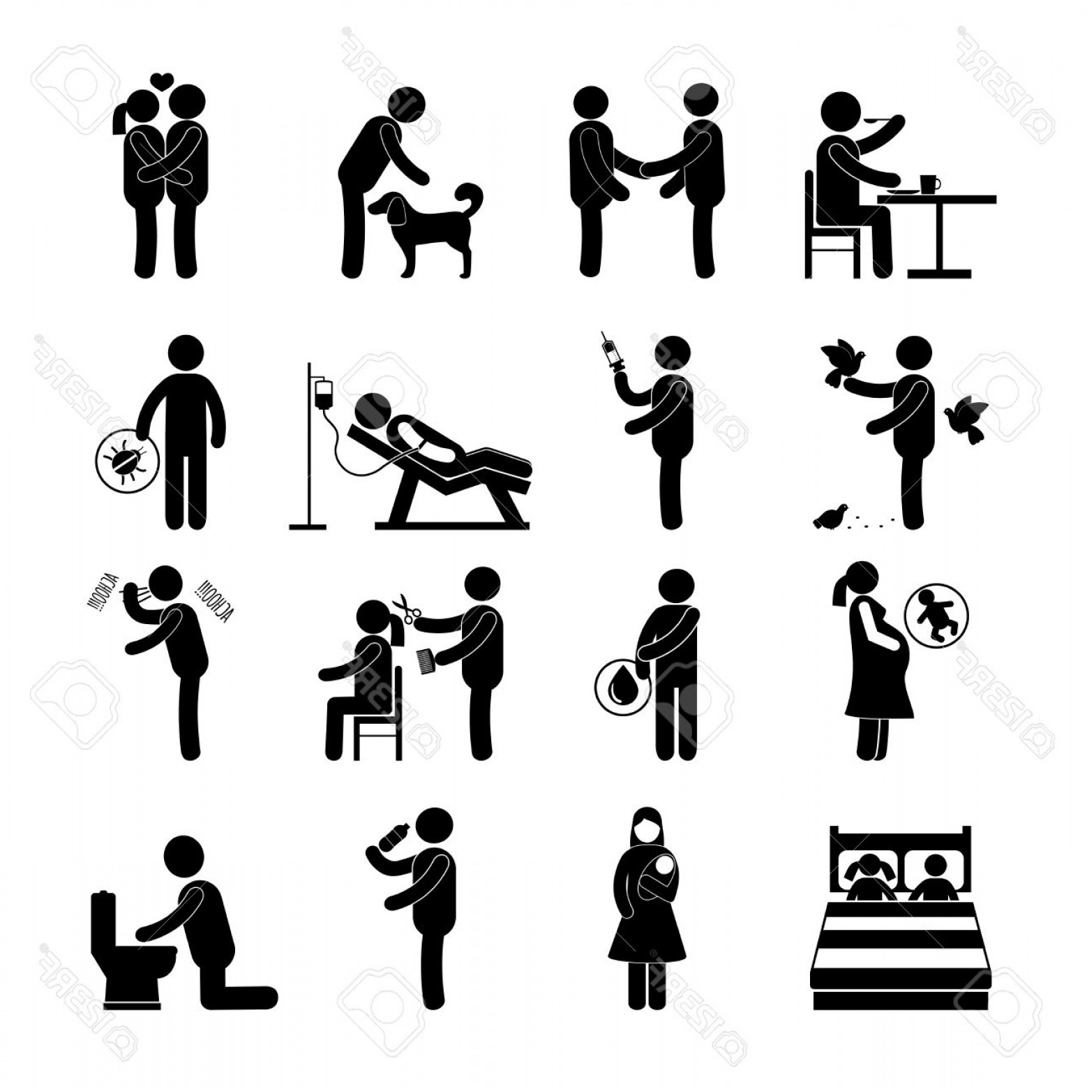 Diseases Spread By Vectors: Photostock Vector Diseases And Infection Transmission Way Set With Pictogram People Isolated Vector Illustration