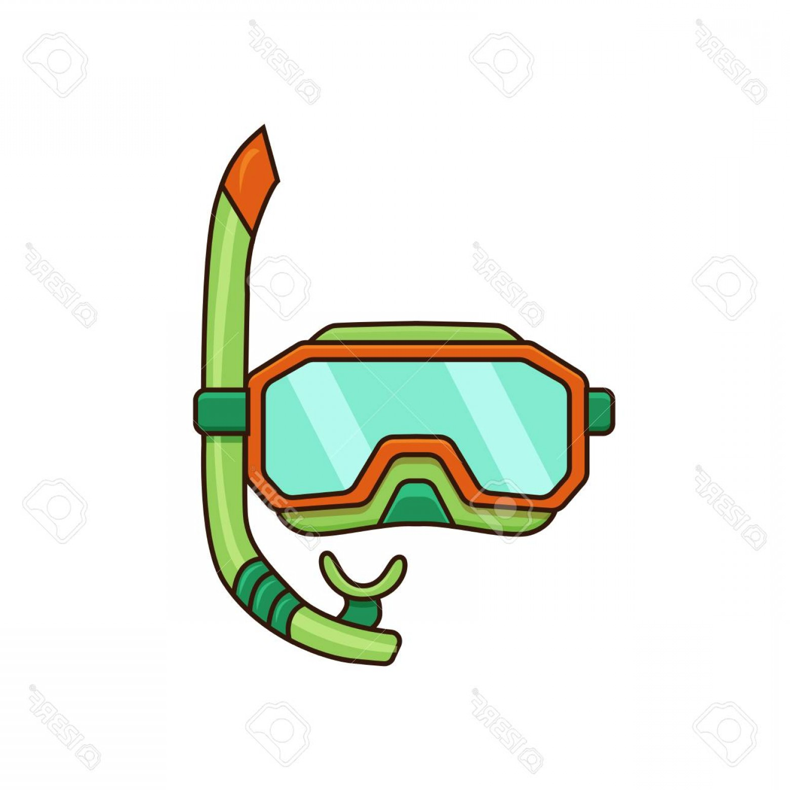 Dive Mask E Vectors: Photostock Vector Diving Mask Vector Illustration Flat