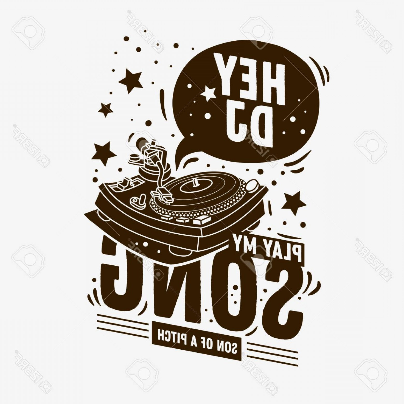 Vector DjDecks: Photostock Vector Dj Themed Typographic Tee Print Design With A Turntable Illustration On A White Background