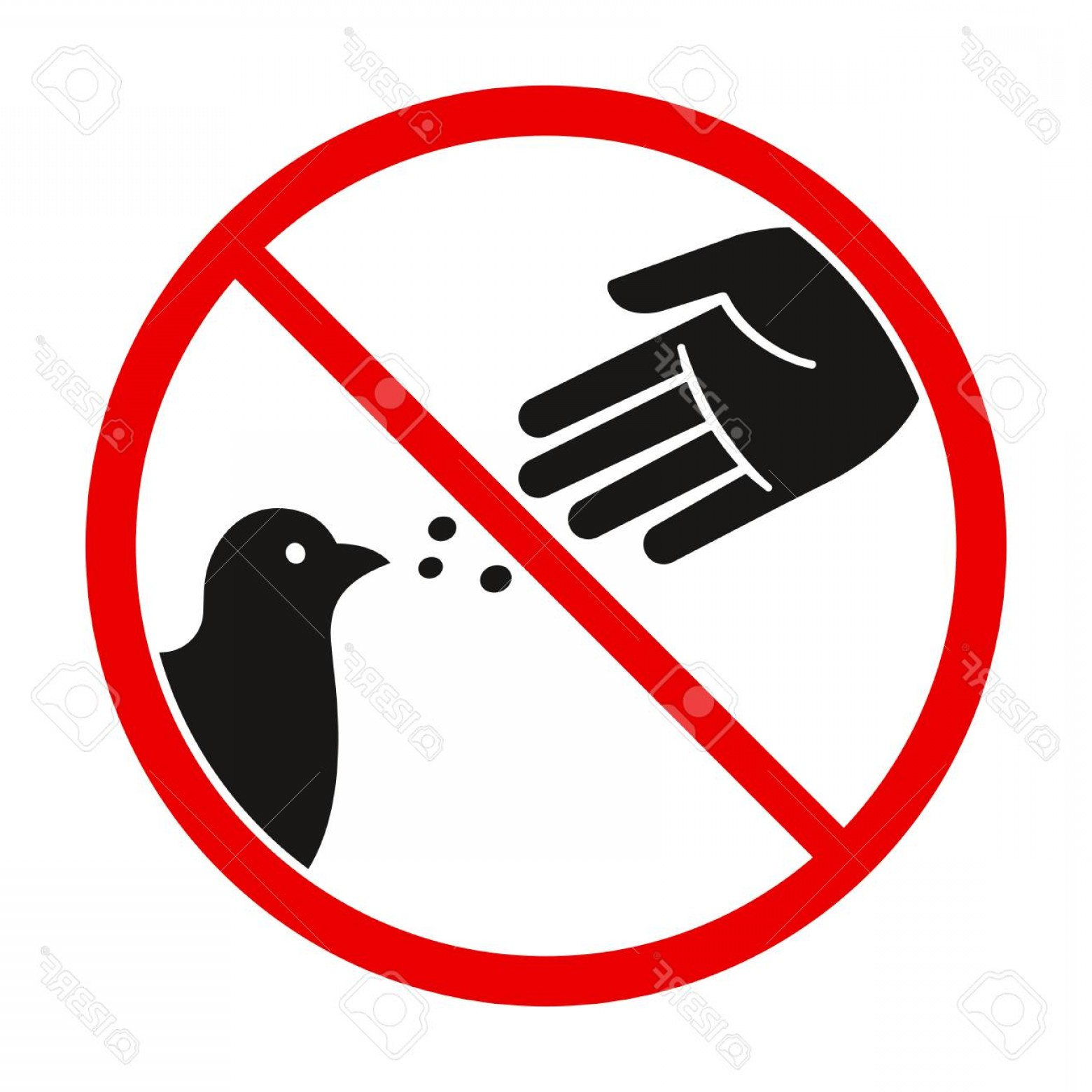 Vector Do Not: Photostock Vector Do Not Feed The Birds Warning Sign Stylized Vector Pigeon Silhouette And Hand Symbol In Crossed Red