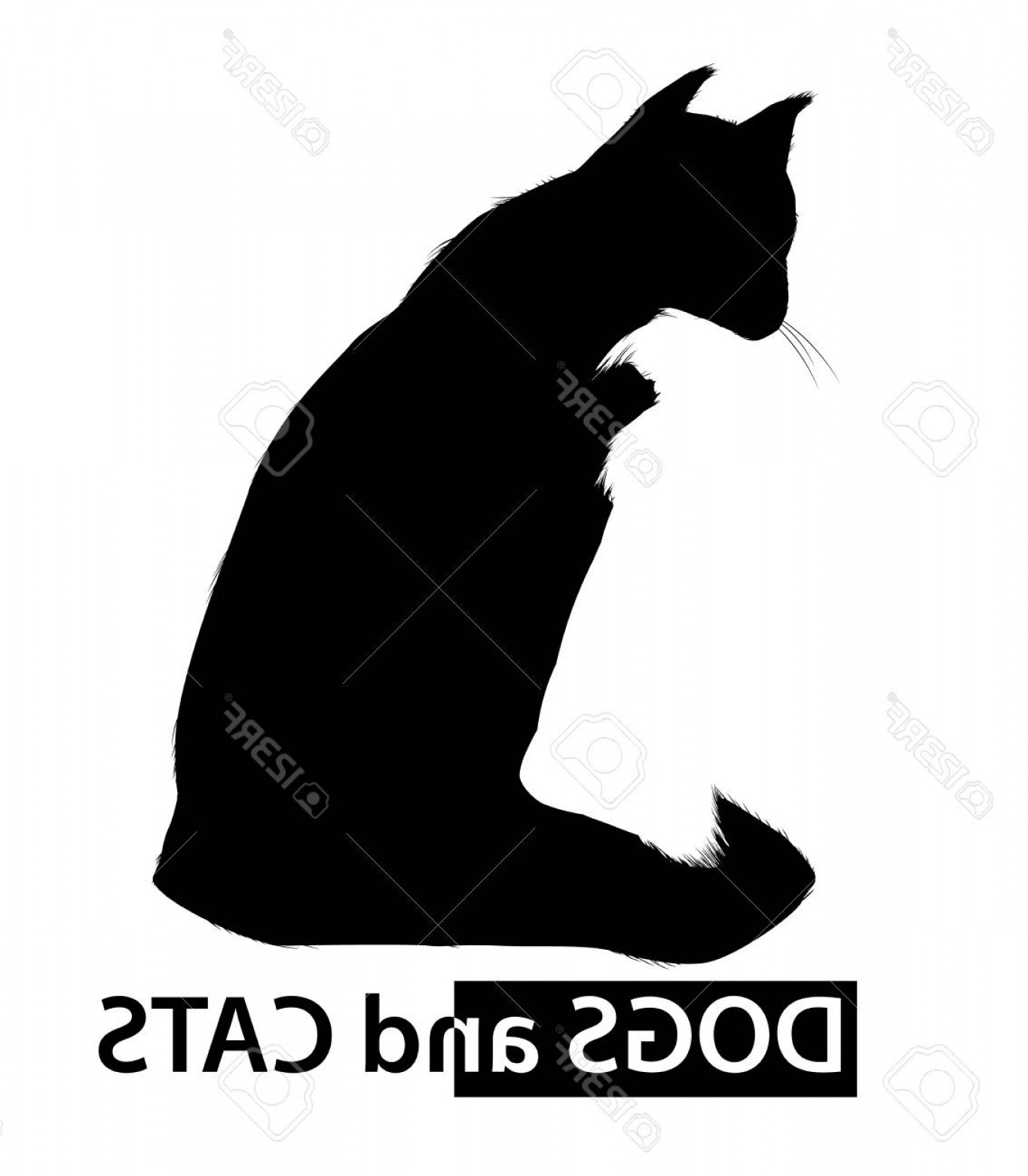 Black And White Negative Vector: Photostock Vector Dog And Cat Silhouettes With Negative Space Effect Black And White Vector