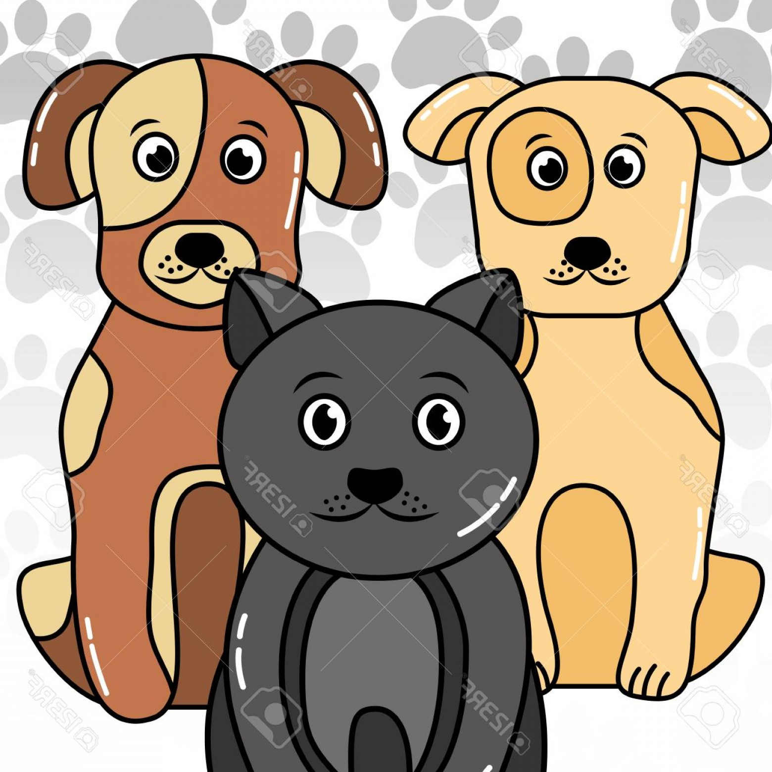 Dog And Cat Vector Illustration: Photostock Vector Dogs And Cat Vector Illustration