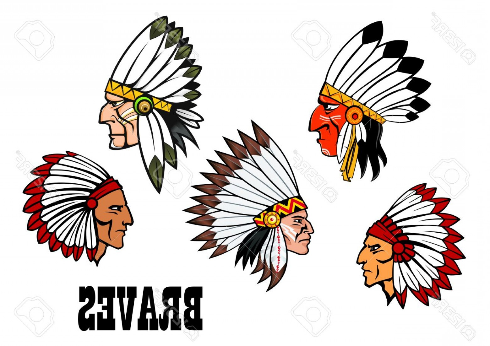 Braves Logo Vector: Photostock Vector Dolorful Cartoon Native American Indian Braves Heads Wearing Feathered Headdresses Side View In Prof