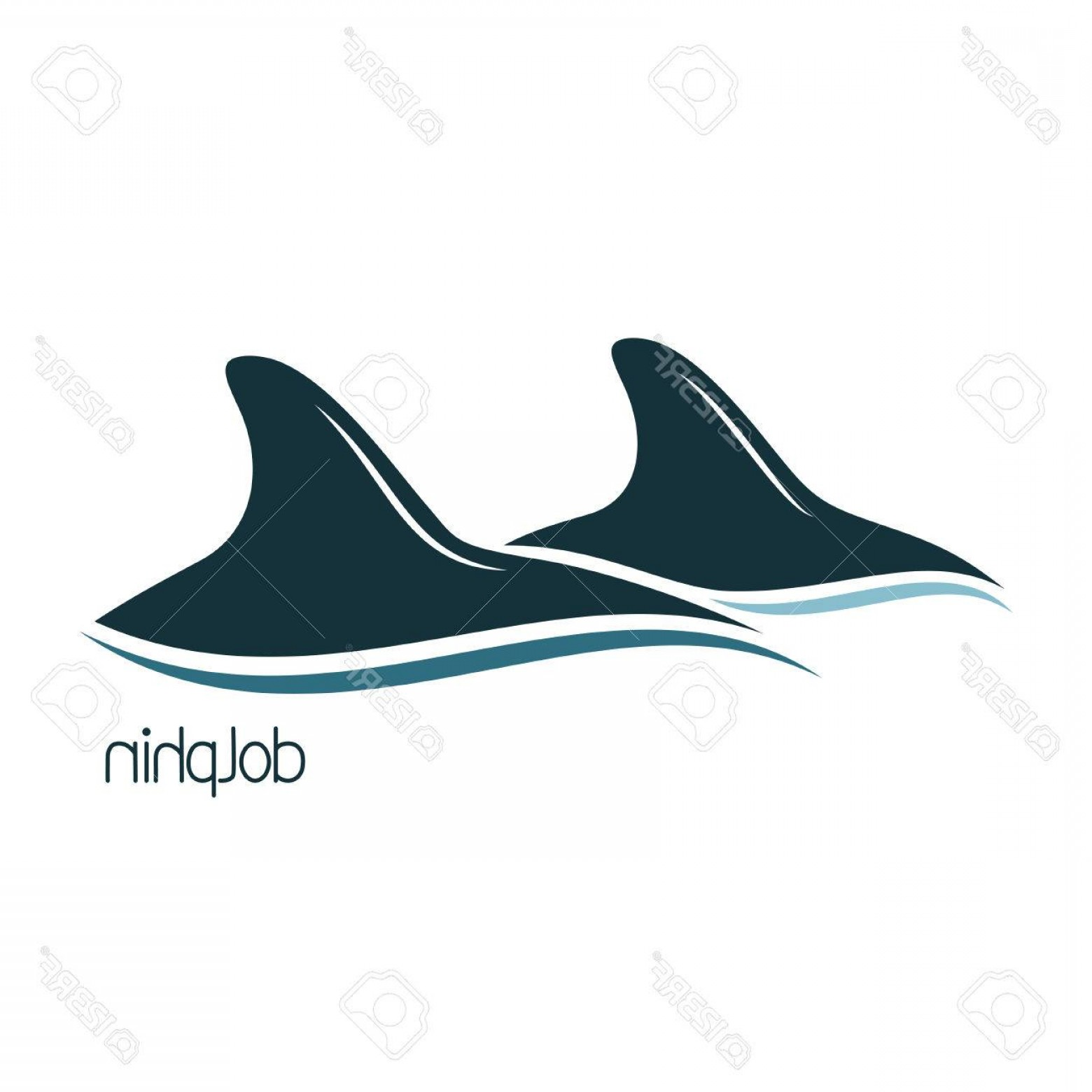 Vector Systems Fins: Photostock Vector Dolphins Dorsal Fins Above The Water