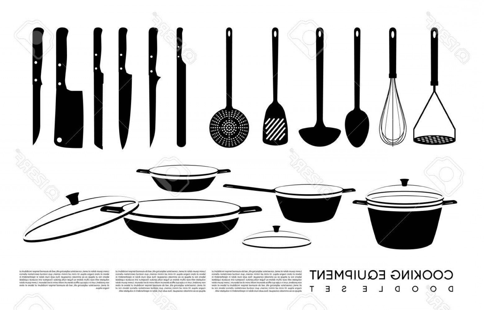 Vector Chef Utensils: Photostock Vector Doodle Kitchen Equipment Set With Cooking Tools Knives Saucepan Pan And Pots Isolated Vector Illustr
