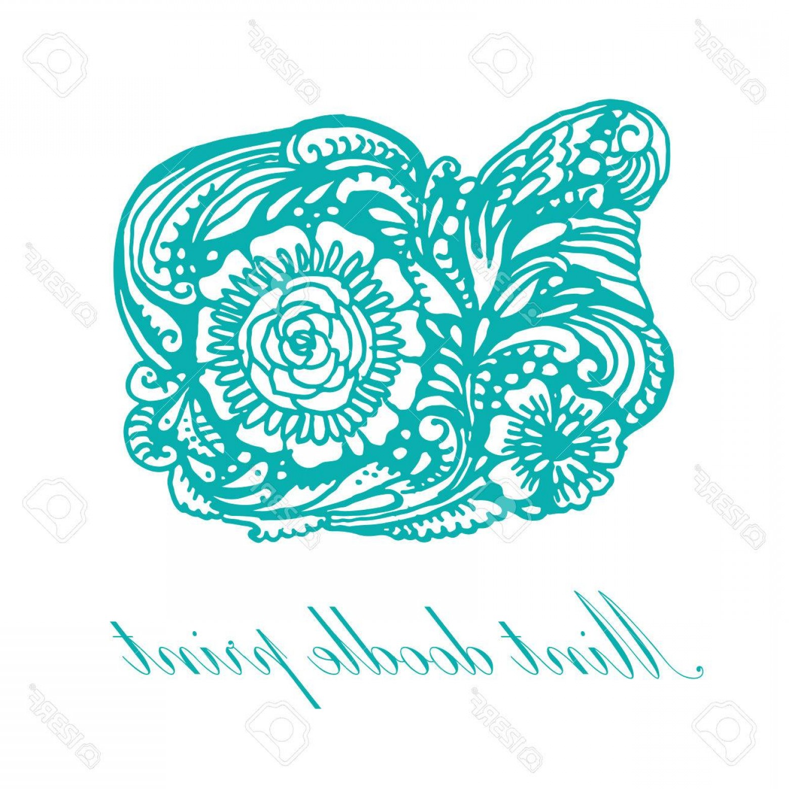 Turquoise Flower Vector: Photostock Vector Doodle Turquoise Print Patterns And Flowers Vector Illustration