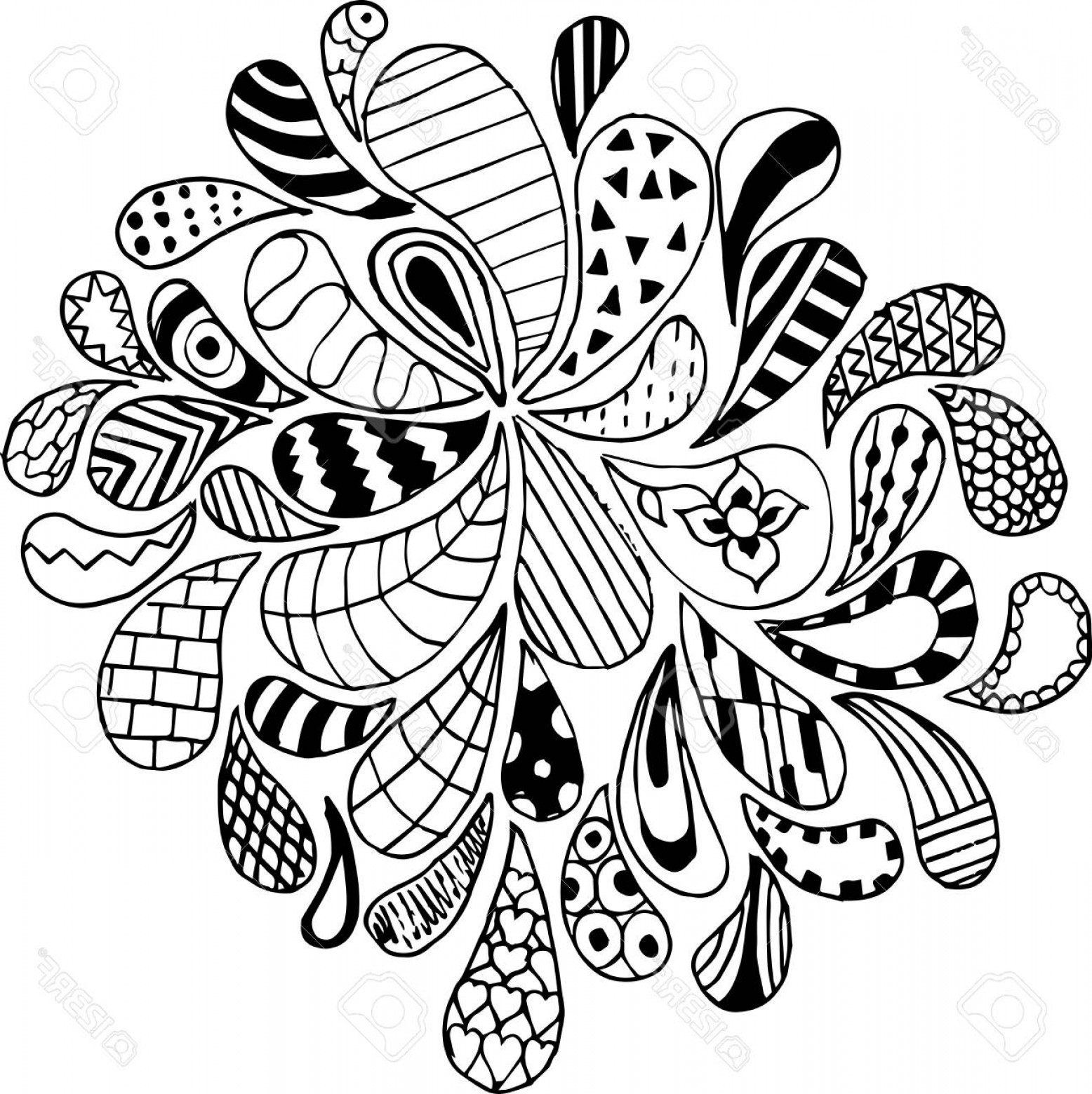 Zentangle Vector: Photostock Vector Doodles Zentangle Vector Illustration Pattern Freehand Pencil Pattern Zen Art Print For Coloring Boo