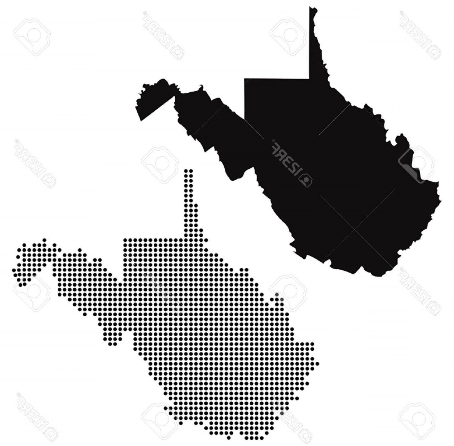 West Virginia Logo Vector: Photostock Vector Dotted And Silhouette West Virginia Map