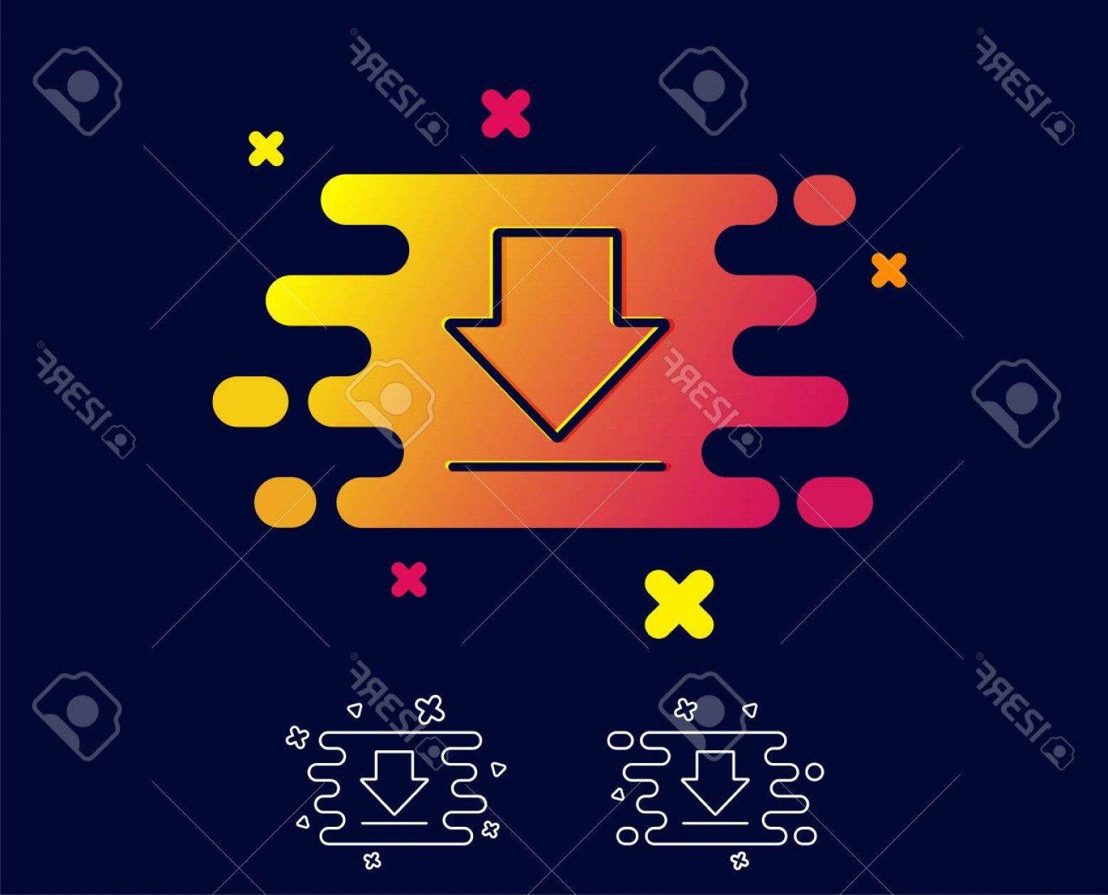 Downloadable Vector Cross: Photostock Vector Download Line Icon Internet Downloading Sign Load File Symbol Gradient Banner With Line Icon Abstrac