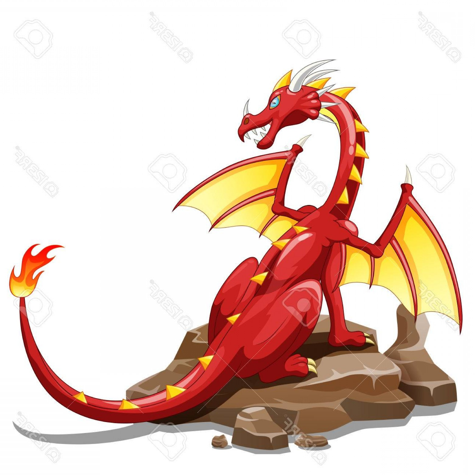 Dragon Fire Vector: Photostock Vector Dragon Fire Animal Cartoon Vector Illustration