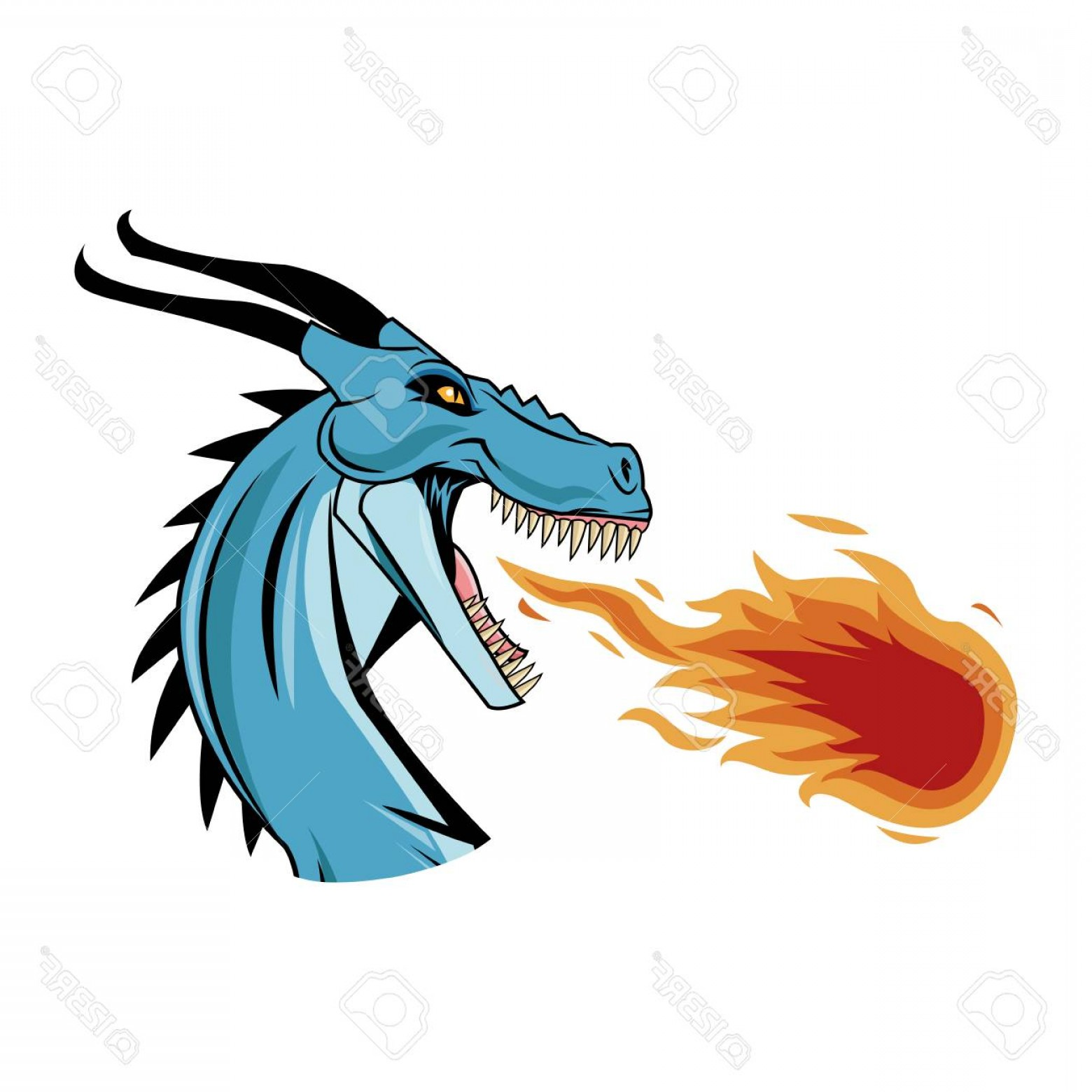 Dragon Fire Vector: Photostock Vector Dragon Throwing Fire Icon Over White Background Colorful Design Vector Illustration