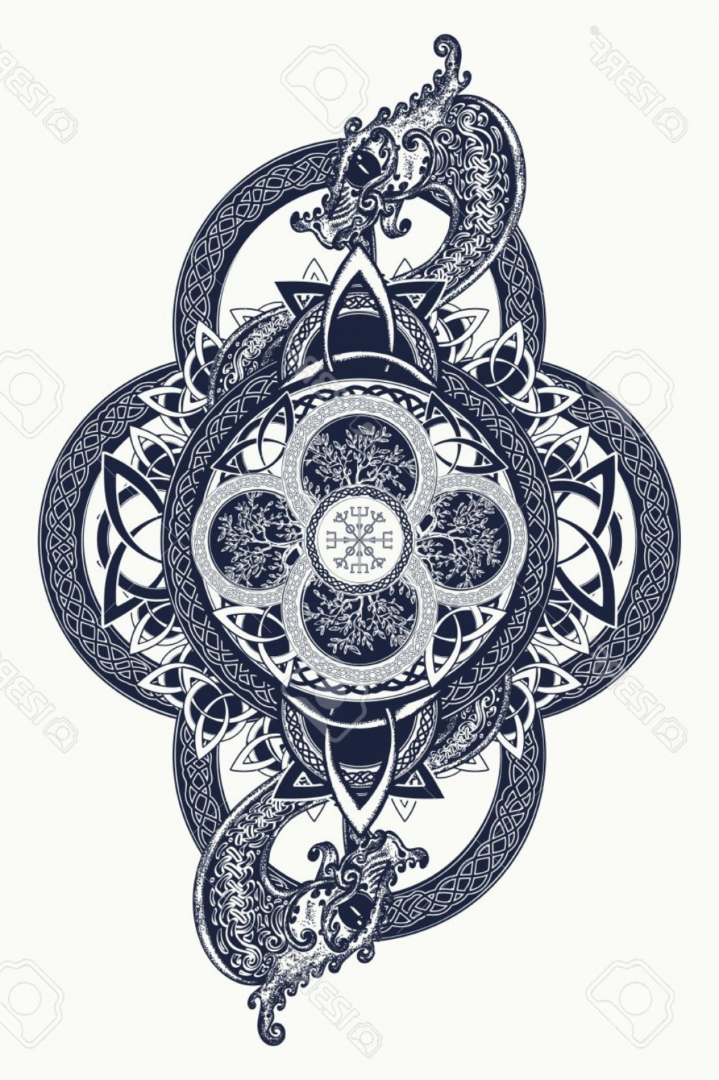 Celtic Tree Vector: Photostock Vector Dragons And Celtic Tree Of Life Tattoo Mystic Tribal Symbol And T Shirt Design Celtic Mystical Signs