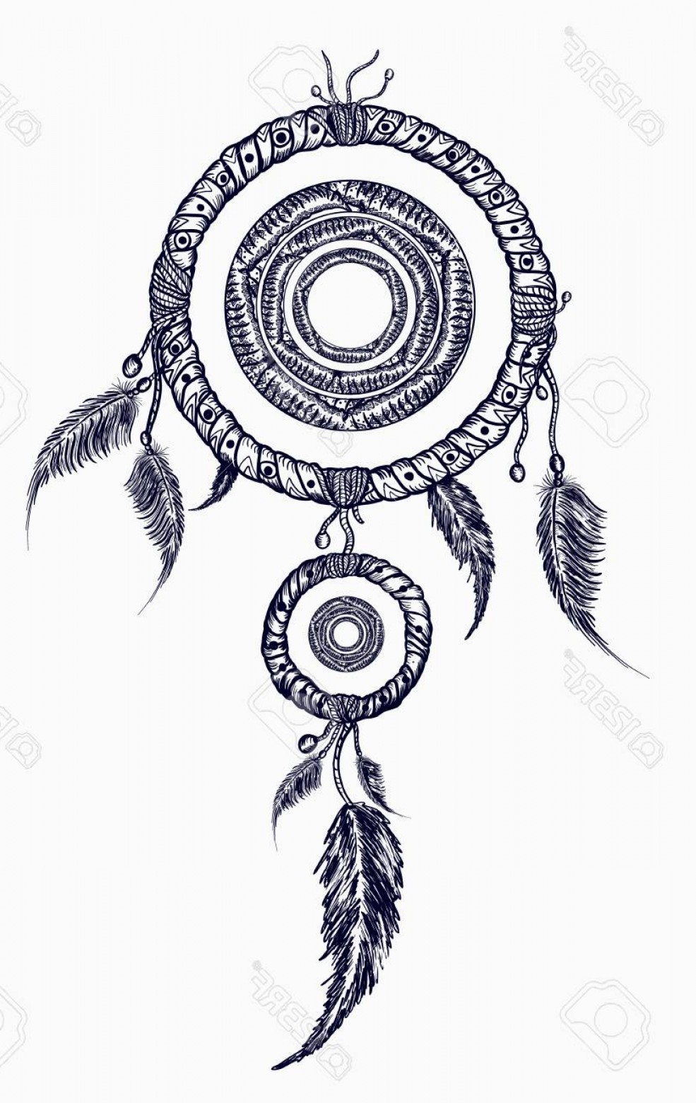 Dreamcatcher Tattoo Vector: Photostock Vector Dream Catcher With Feathers Tattoo Boho Native American Style T Shirt Design Indian Dream Catcher Wi
