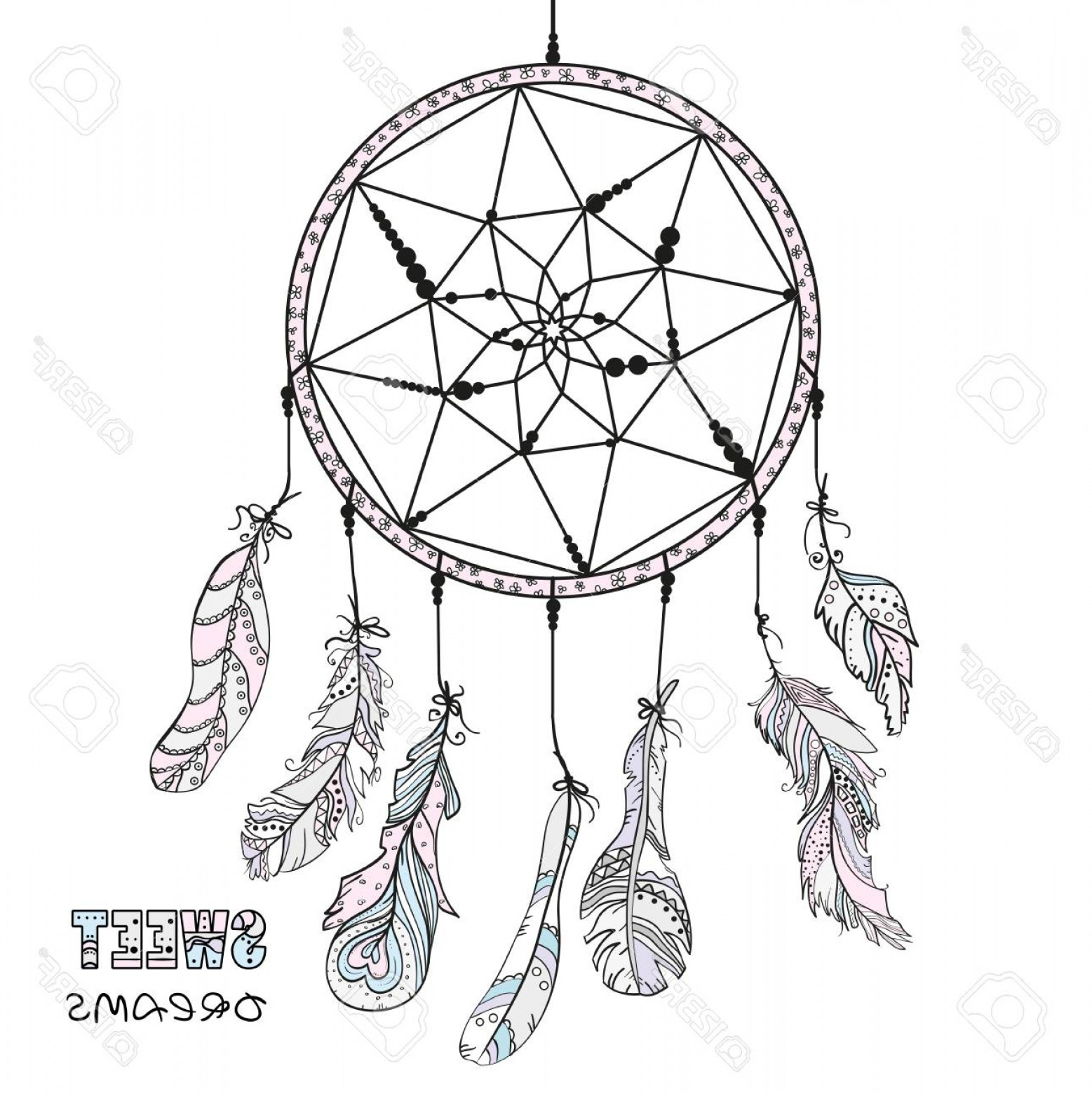 Dreamcatcher Tattoo Vector: Photostock Vector Dreamcatcher Tattoo Art Mystic Symbol Abstract Feathers Print For Polygraphy Posters And Textiles Am