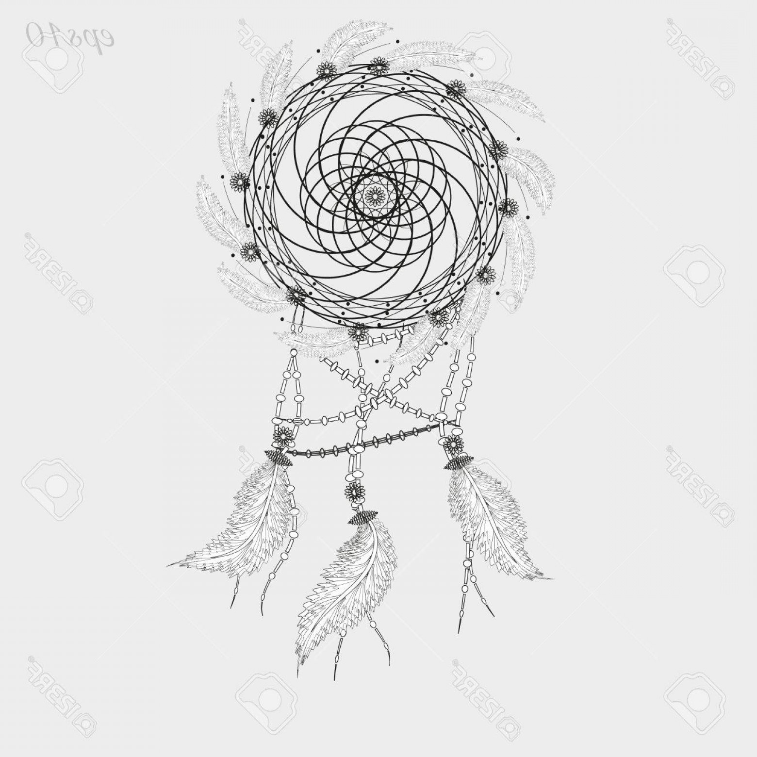 Dreamcatcher Tattoo Vector: Photostock Vector Dreamcatcher Tattoo Graphics Decoration Ritual Magic Feather Woven Twigs Author Dot Handmade Folk Ar