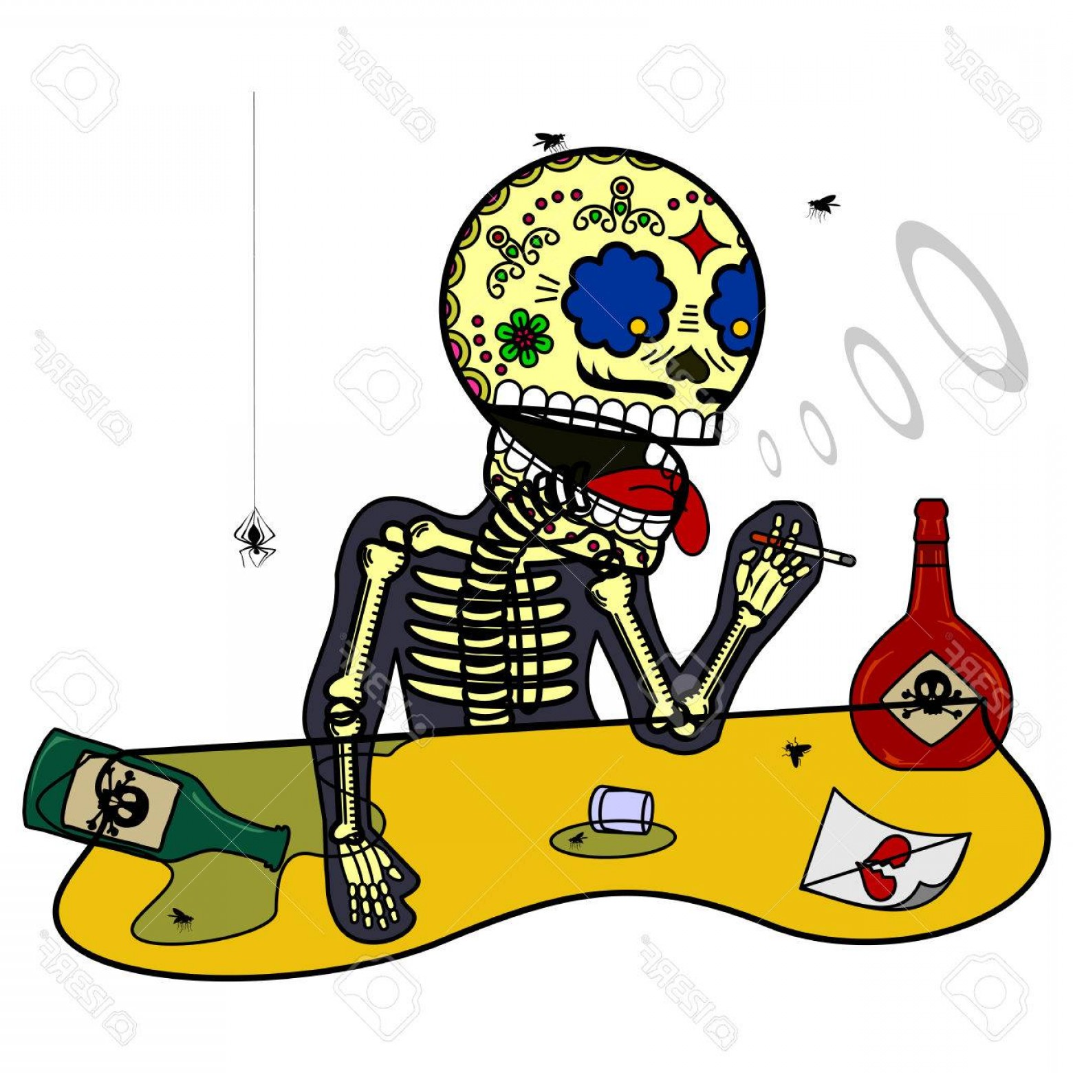 Skeletons In Love Vector: Photostock Vector Drinking Wine And Smoking Unhappy Love Broken Heart Vector Flat And Linear Illustration Of Skeleton