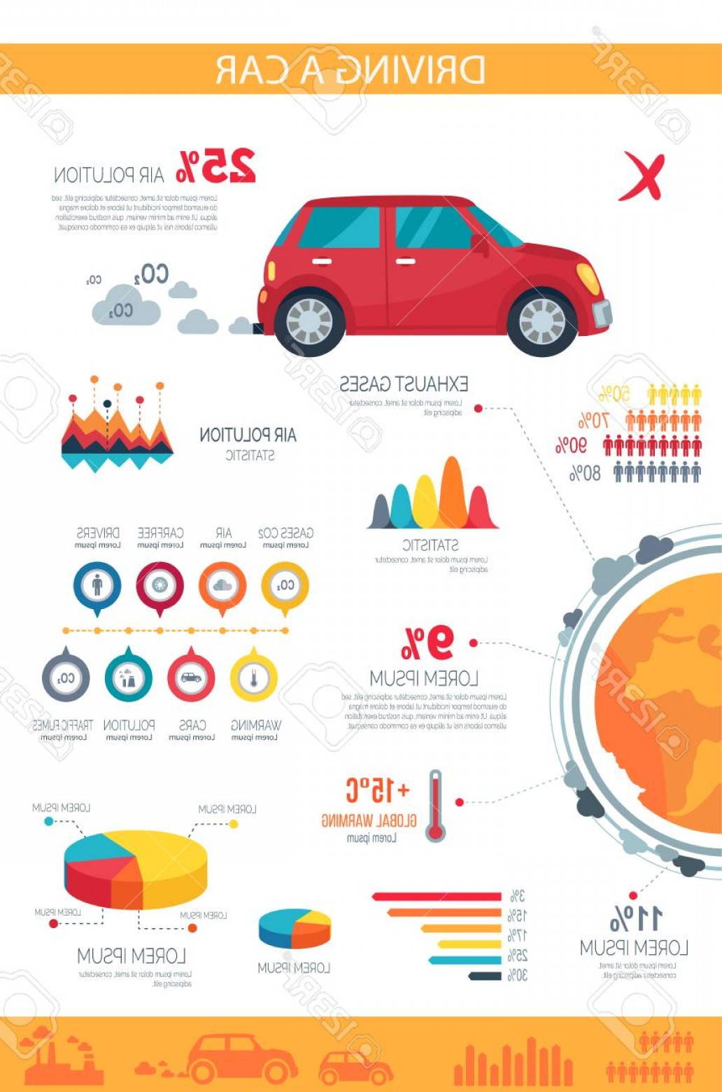 Vector Editors Disadvantages: Photostock Vector Driving A Car Disadvantages On Poster With Pie Charts Bar Graphs And Statistics That Compromise Vehi