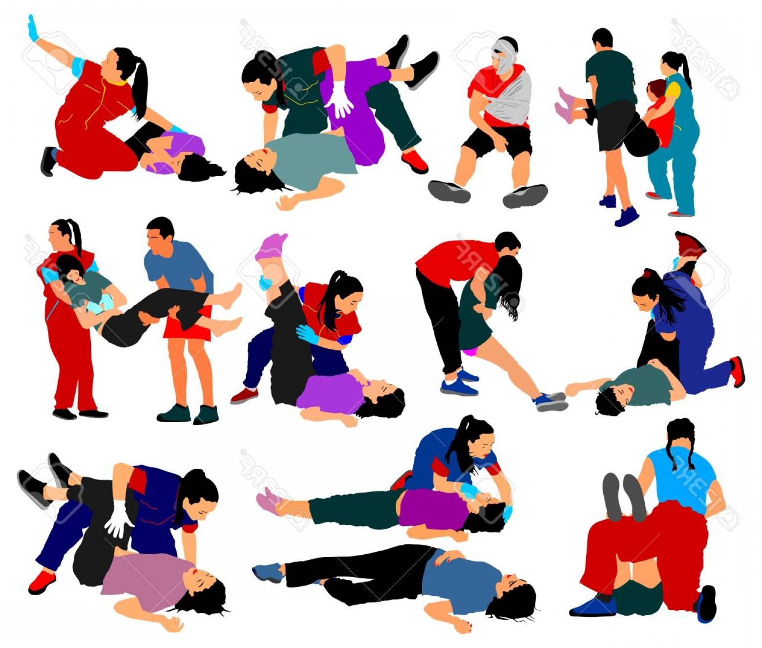 Earthquake Rescue Vector: Photostock Vector Drowning Situation First Aid Vector Illustration Big Group Patients Help Drunk Person Overdose After