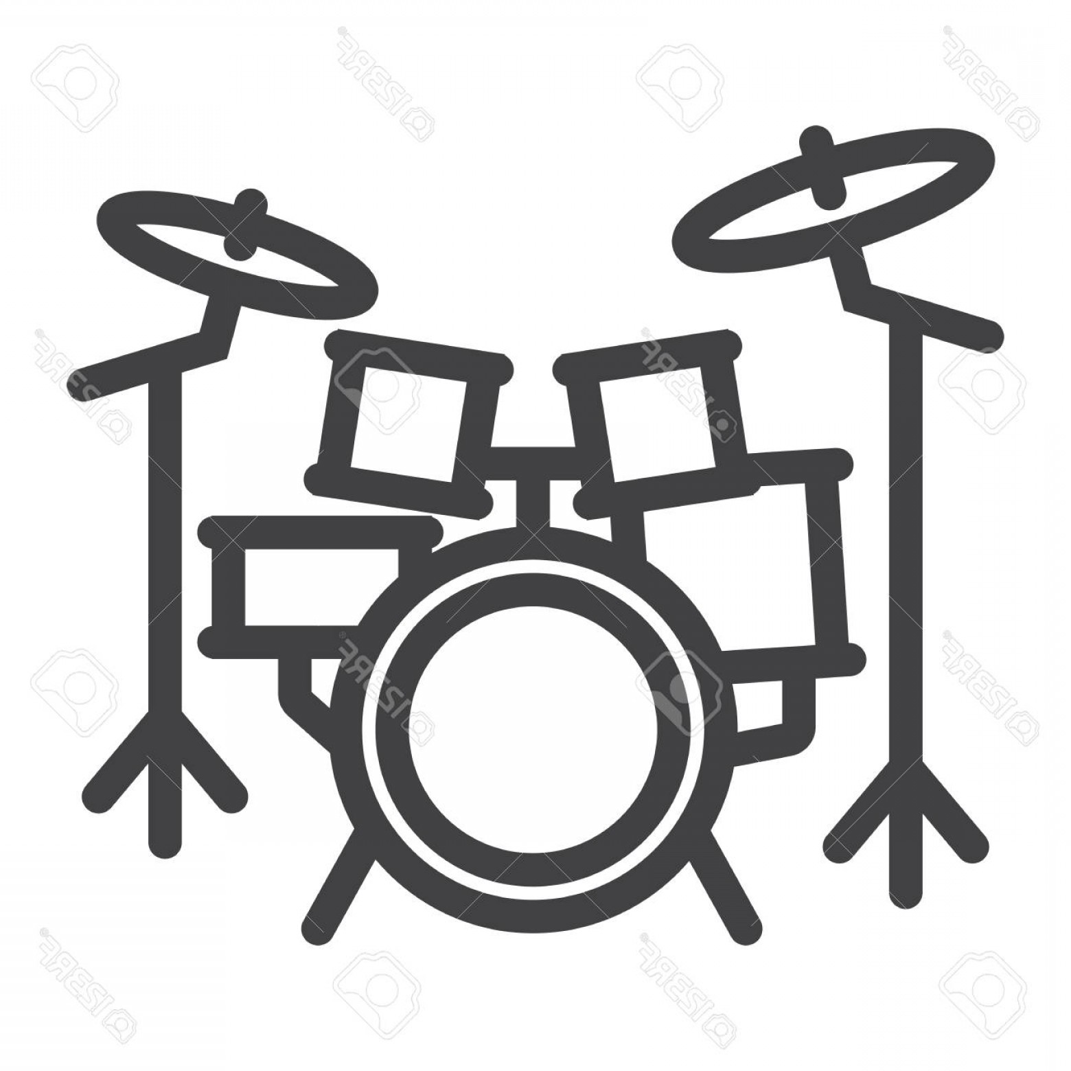 Kick Drum Vector: Photostock Vector Drum Kit Line Icon Music And Instrument Beat Sign Vector Graphics A Linear Pattern On A White Backgr