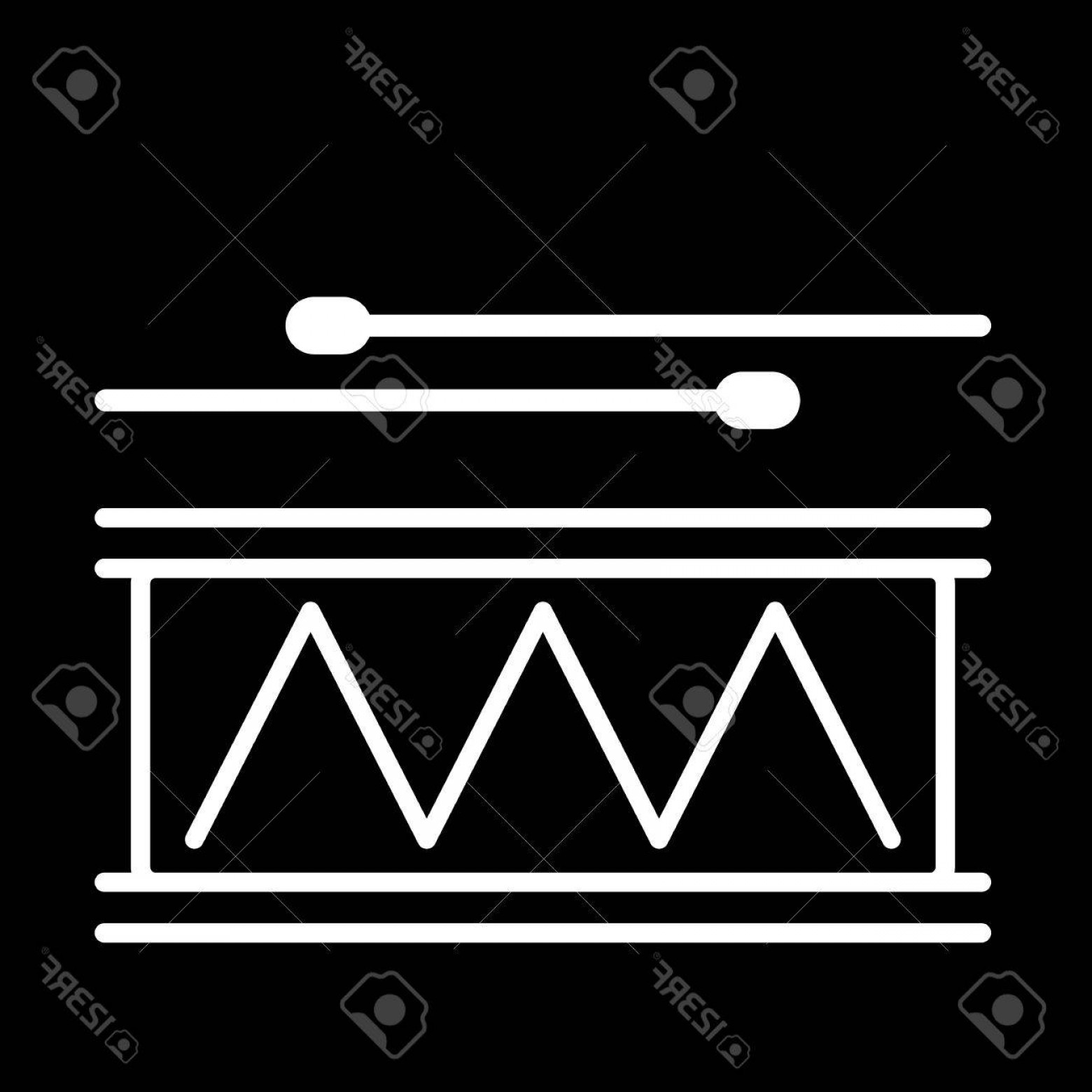 Drumline Vector Art: Photostock Vector Drum Line Art Vector Icon Isolated On A Black Background
