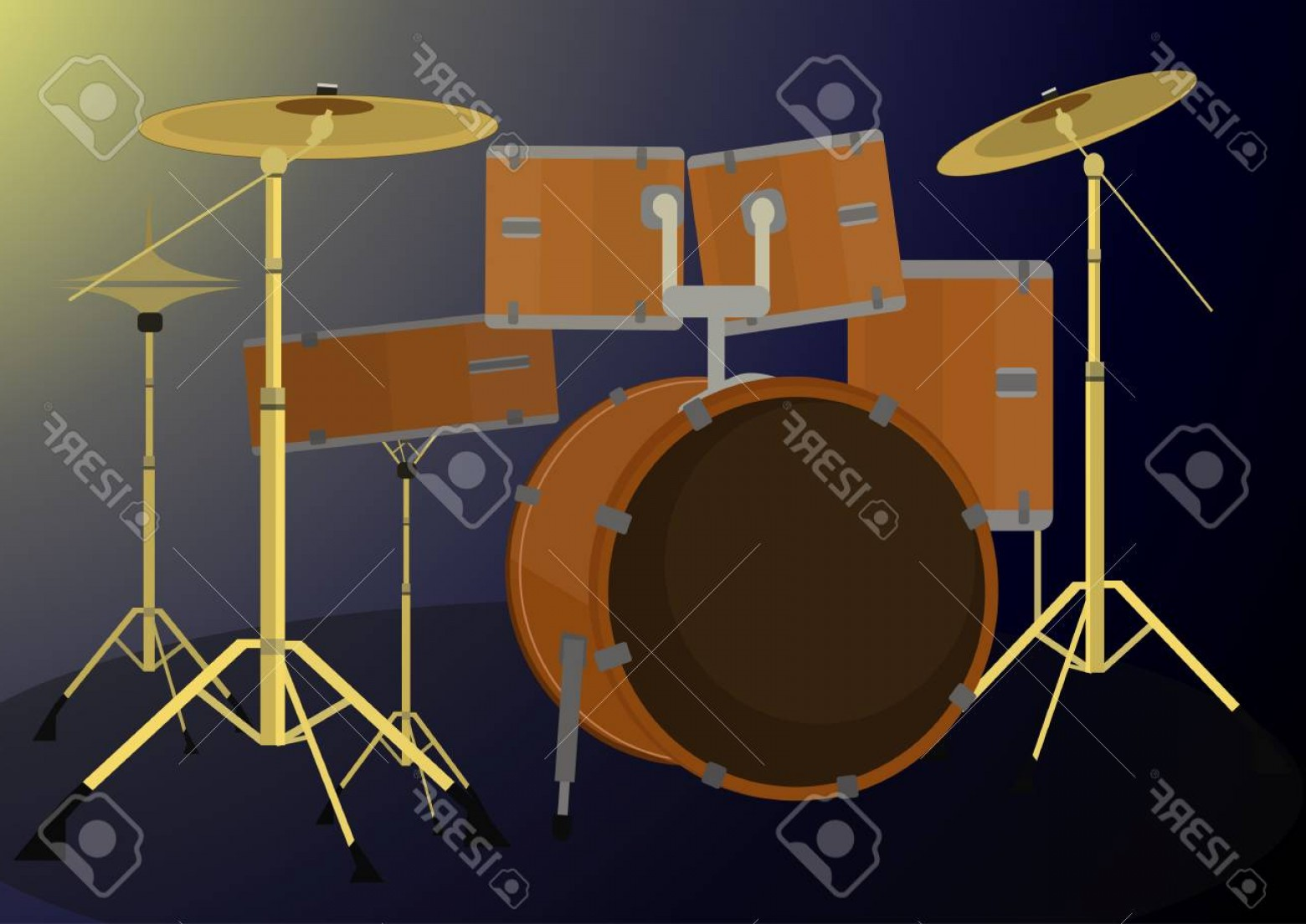 Vector Bass Drum Pedal: Photostock Vector Drum Set Vector Illustration On Dark Background