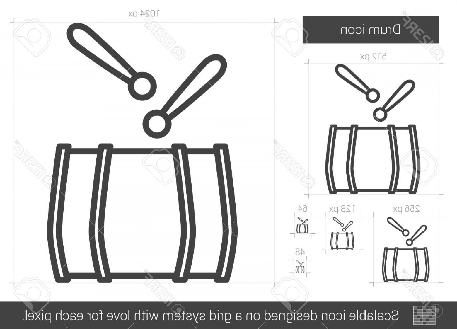 Drumline Vector Art: Photostock Vector Drum Vector Line Icon Isolated On White Background Drum Line Icon For Infographic Website Or App Sca